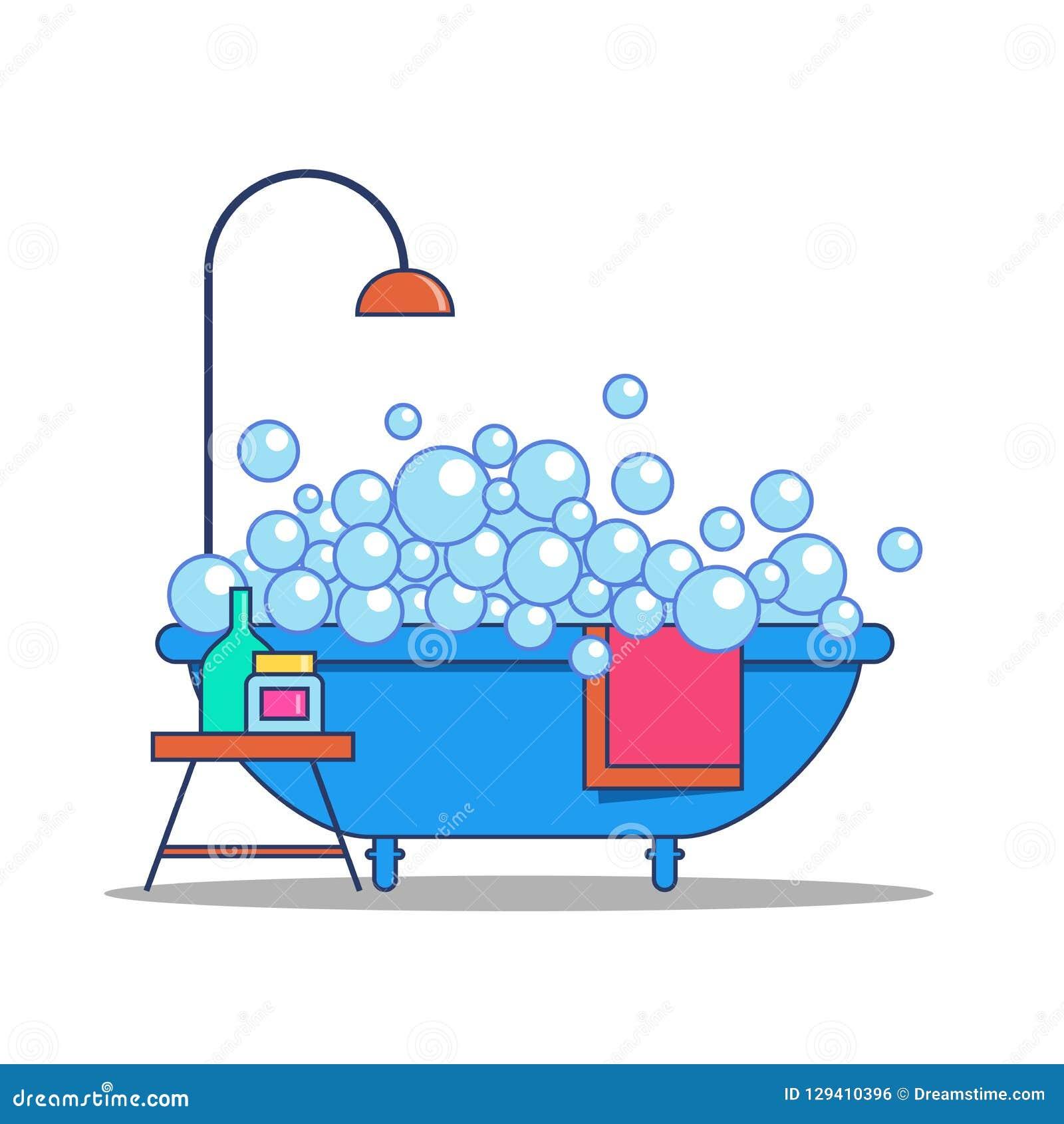 Μπανιέρα με suds σαπουνιών, τα εξαρτήματα ντους και λουτρών