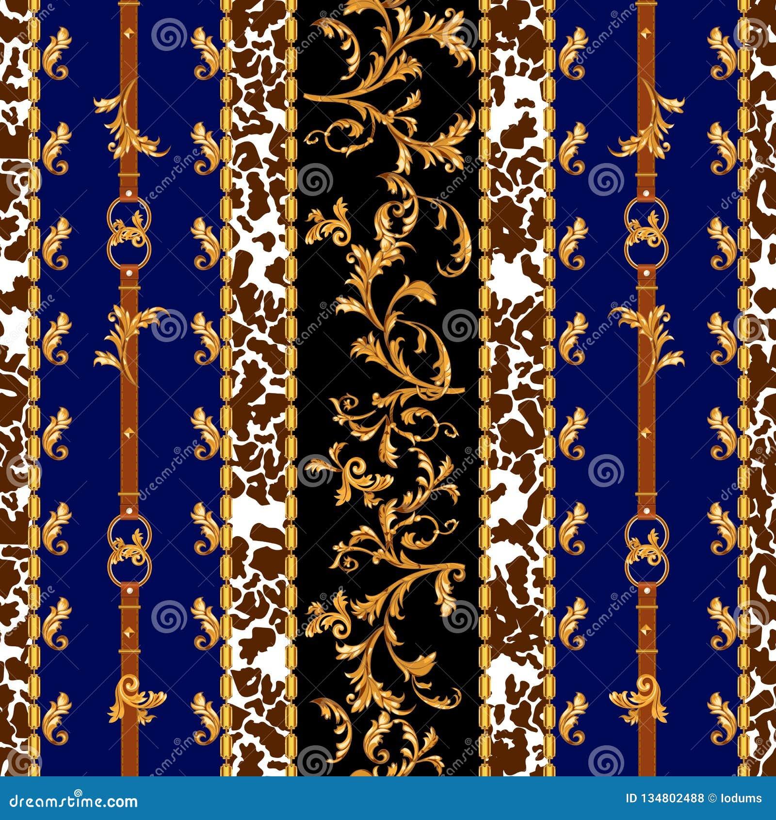 Μπαρόκ άνευ ραφής σχέδιο με τις χρυσές ζώνες, τα φύλλα και τις αλυσίδες Ριγωτό μπάλωμα για τα μαντίλι, τυπωμένη ύλη, ύφασμα
