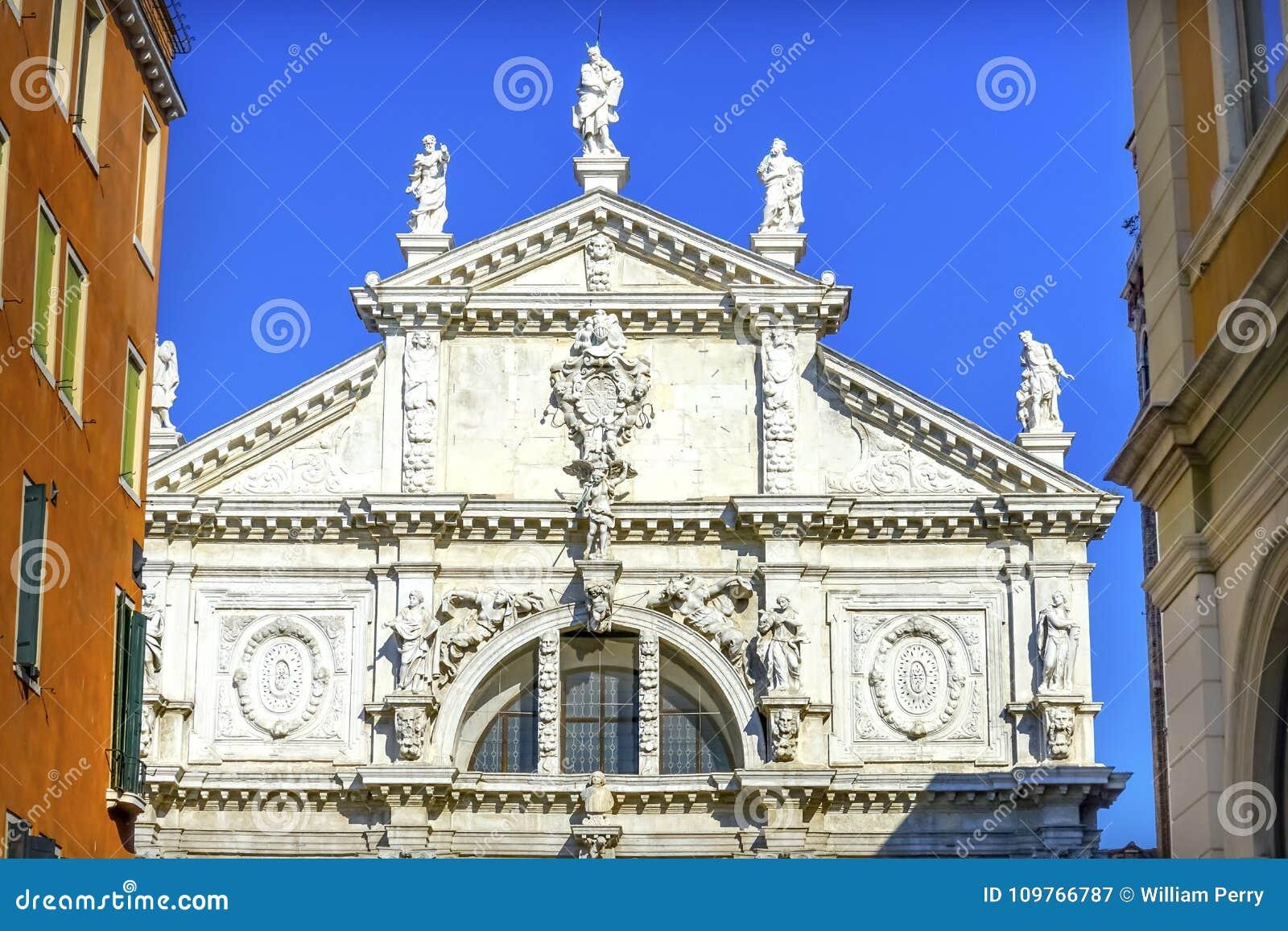 Μπαρόκ πρόσοψη Βενετία Ιταλία εκκλησιών Moise Santa