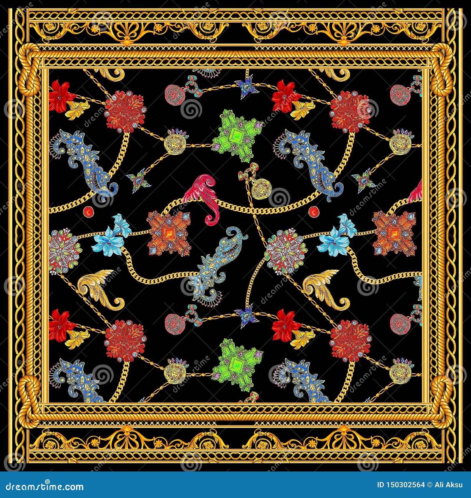 Μπαρόκ χρυσό σχέδιο μαντίλι αλυσίδων versace