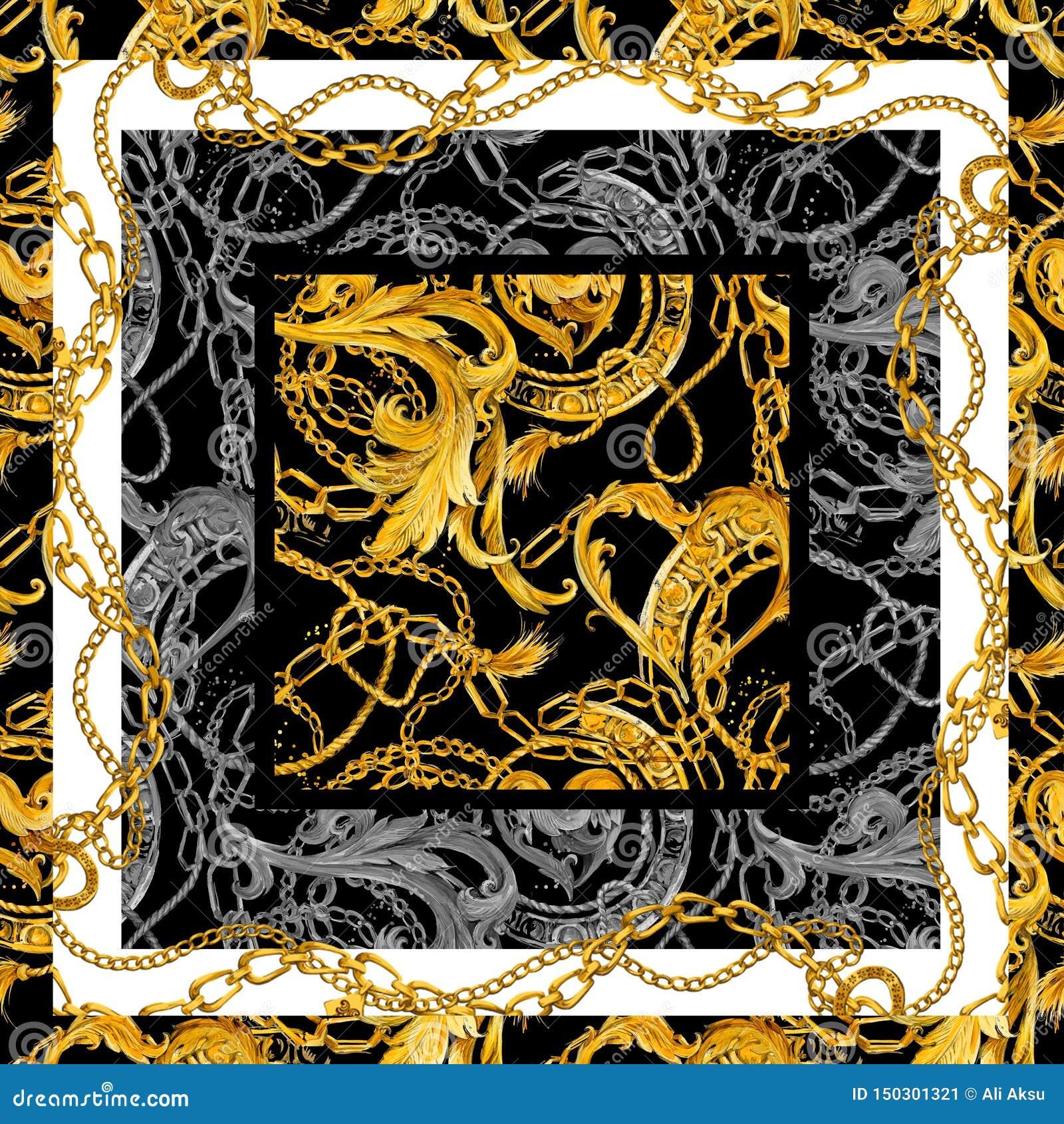 Μπαρόκ χρυσό υπόβαθρο αλυσίδων Χρυσή καρδιά σχέδιο αγάπης κόσμημα πολυτέλειας