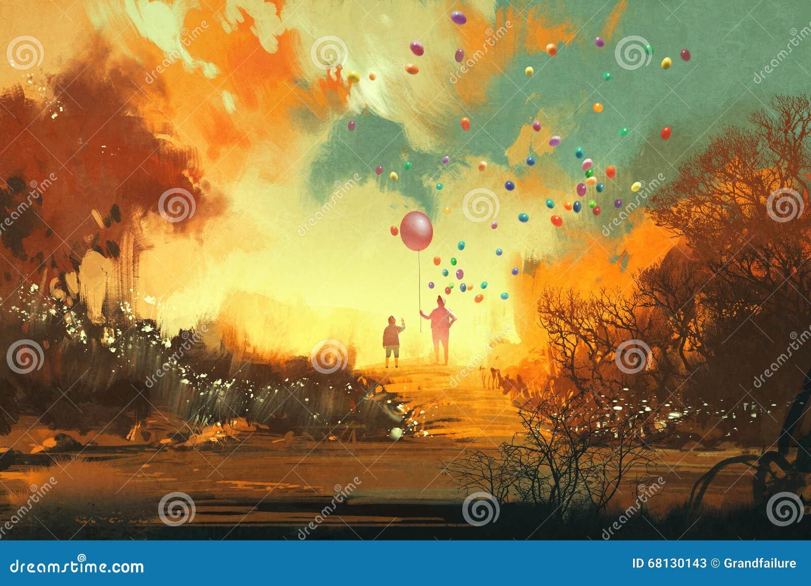 Μπαλόνι εκμετάλλευσης αγοριών και μάγων standng σε μια πορεία του εδάφους φαντασίας