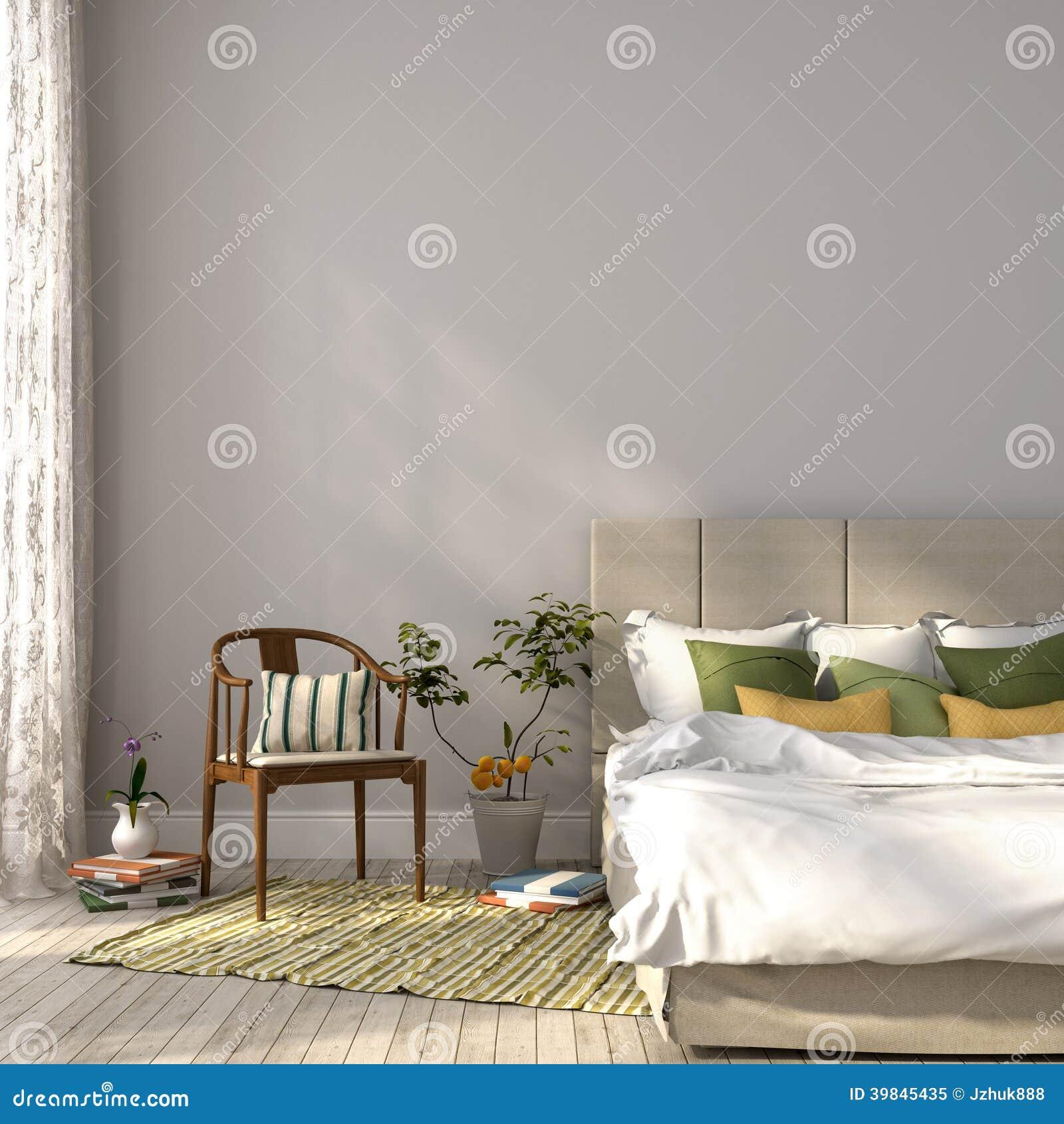 Μπεζ κρεβάτι με το πράσινο ντεκόρ