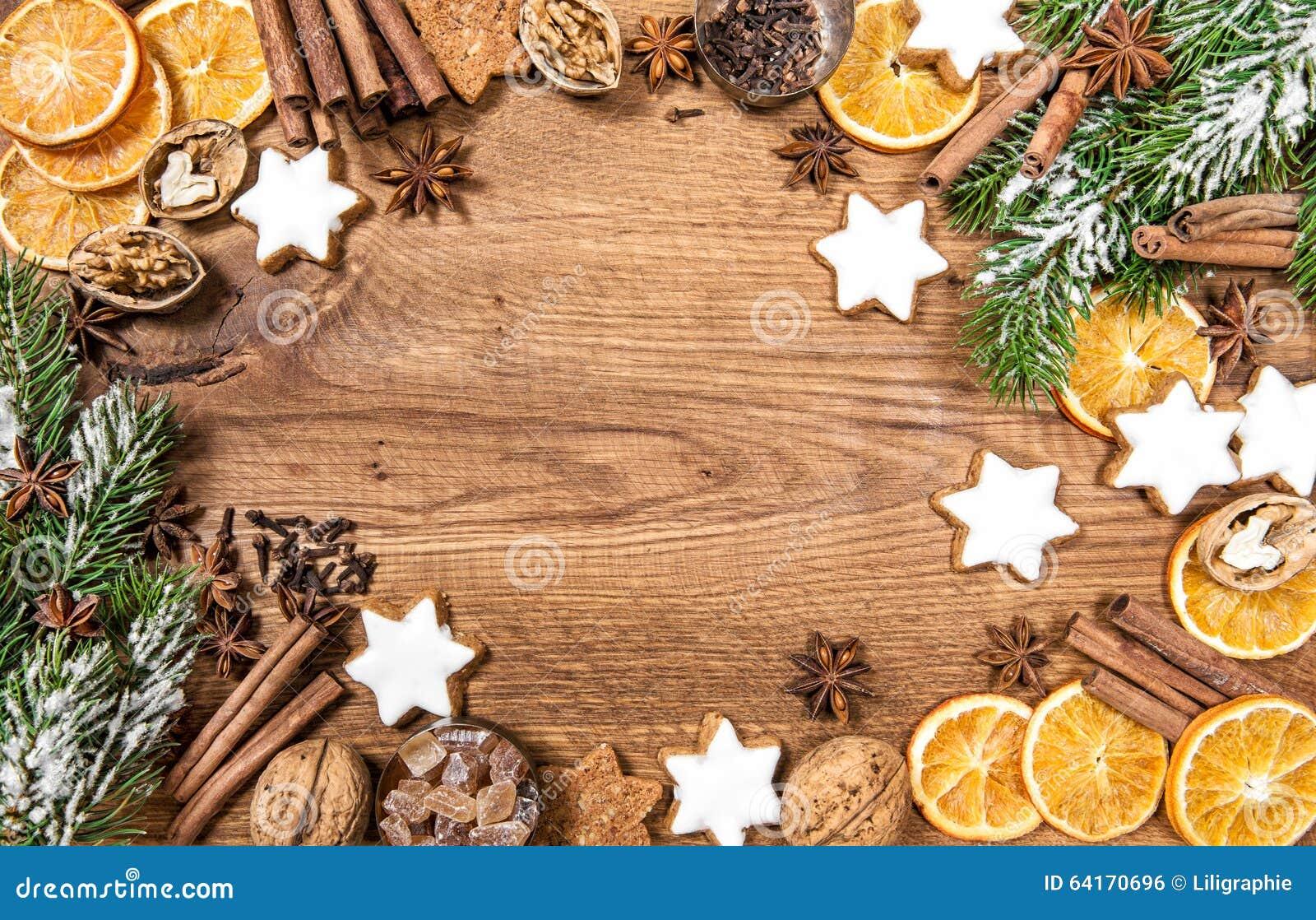 Μπισκότα και καρυκεύματα Χριστουγέννων Συστατικά τροφίμων διακοπών