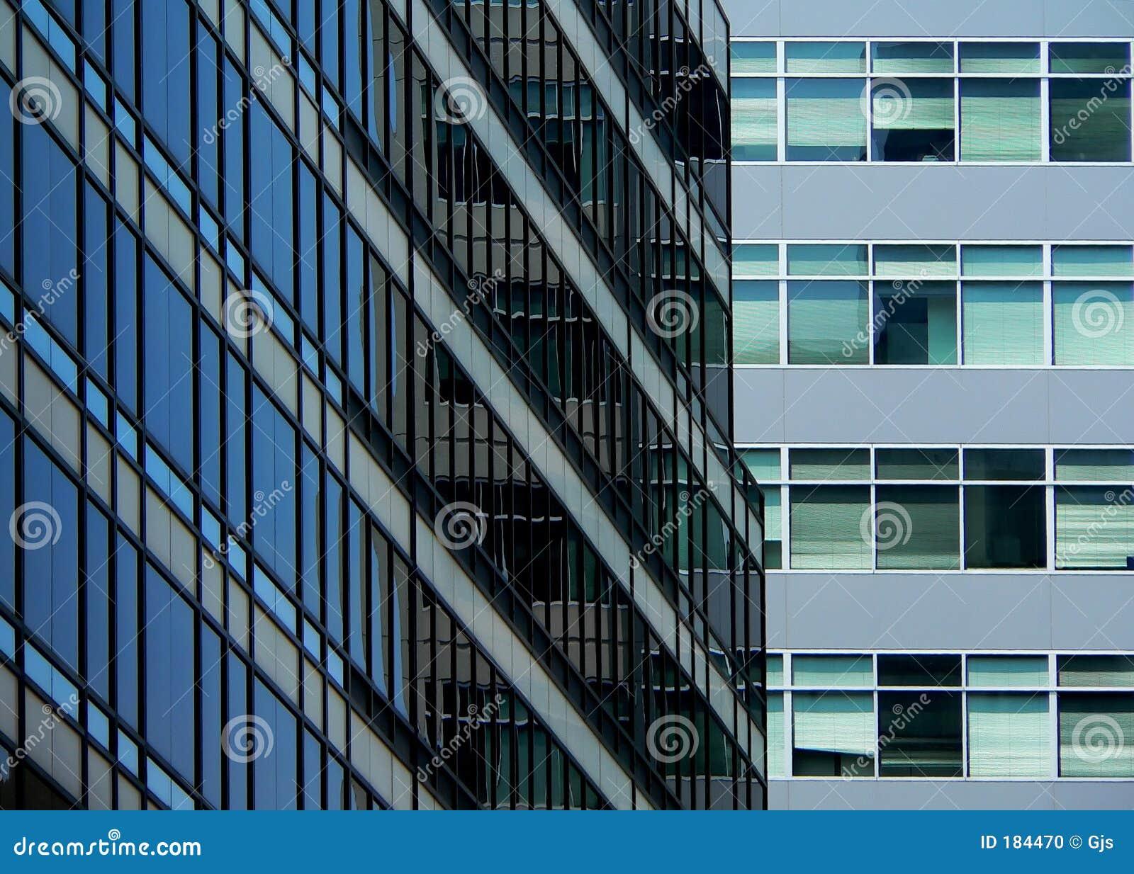 μπλε γραφείο γυαλιού οικοδόμησης