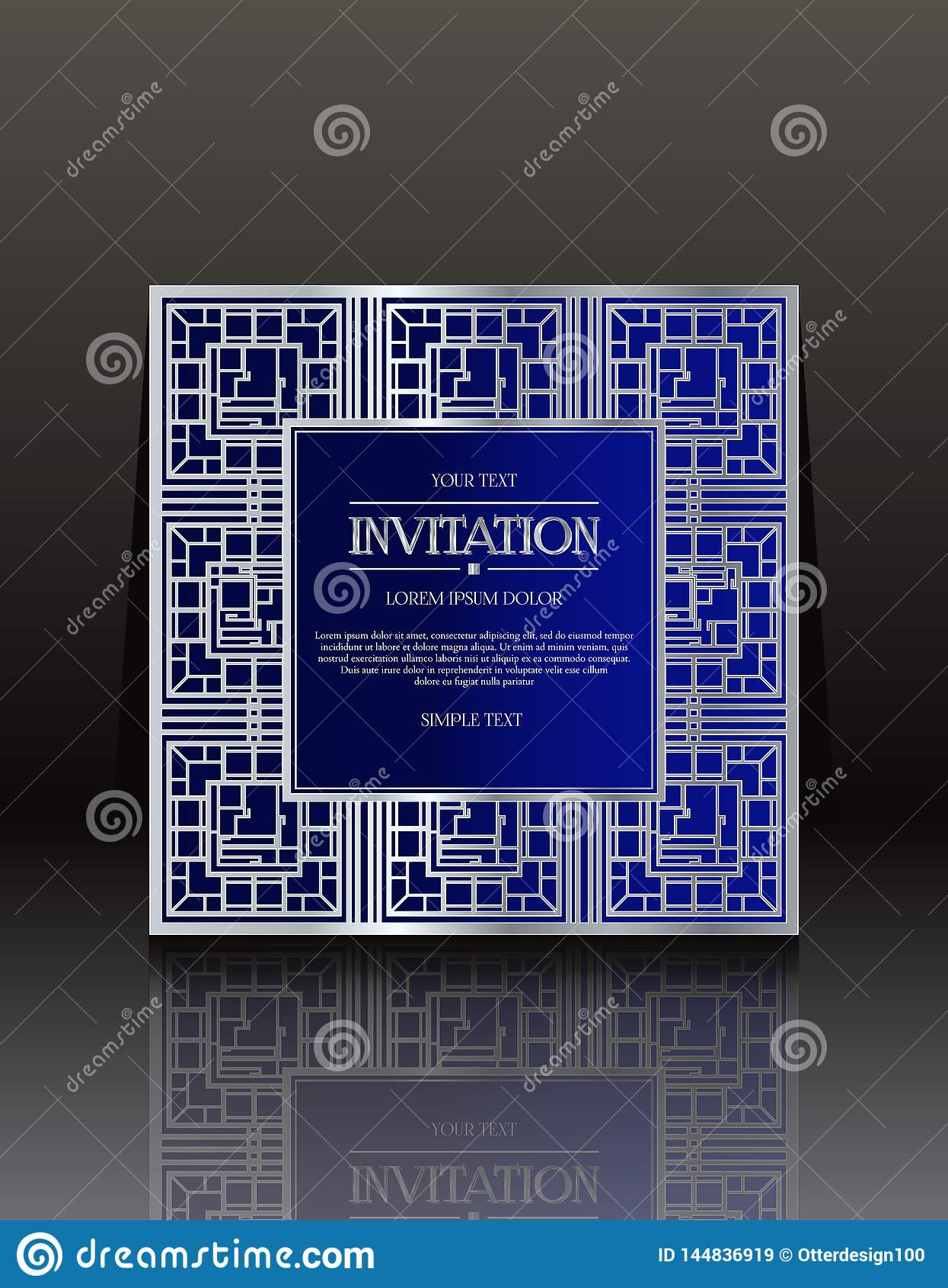 Μπλε εκλεκτής ποιότητας κάρτες πρόσκλησης με τη διακόσμηση