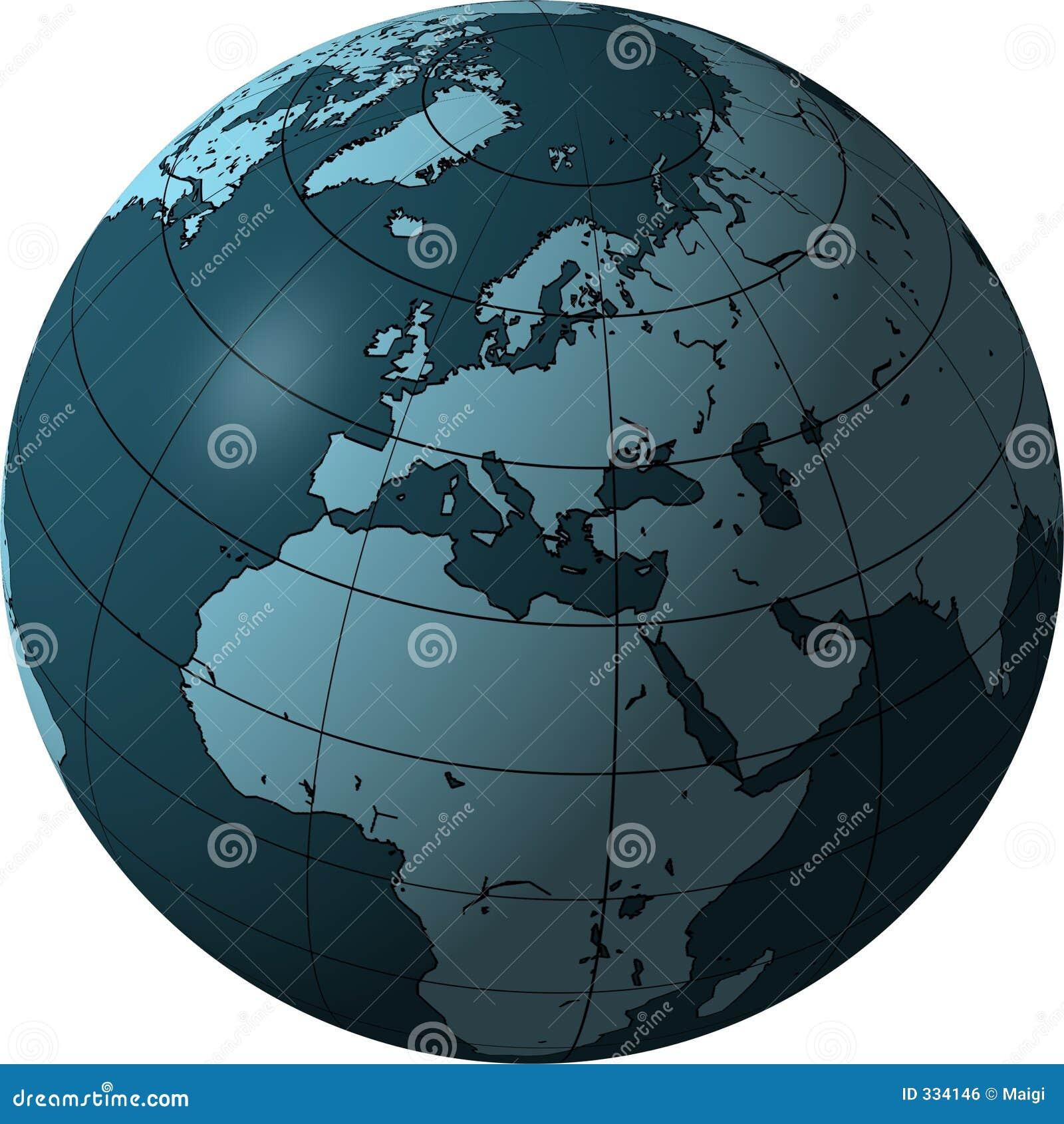 μπλε Ευρώπη σφαίρα της Αφρικής