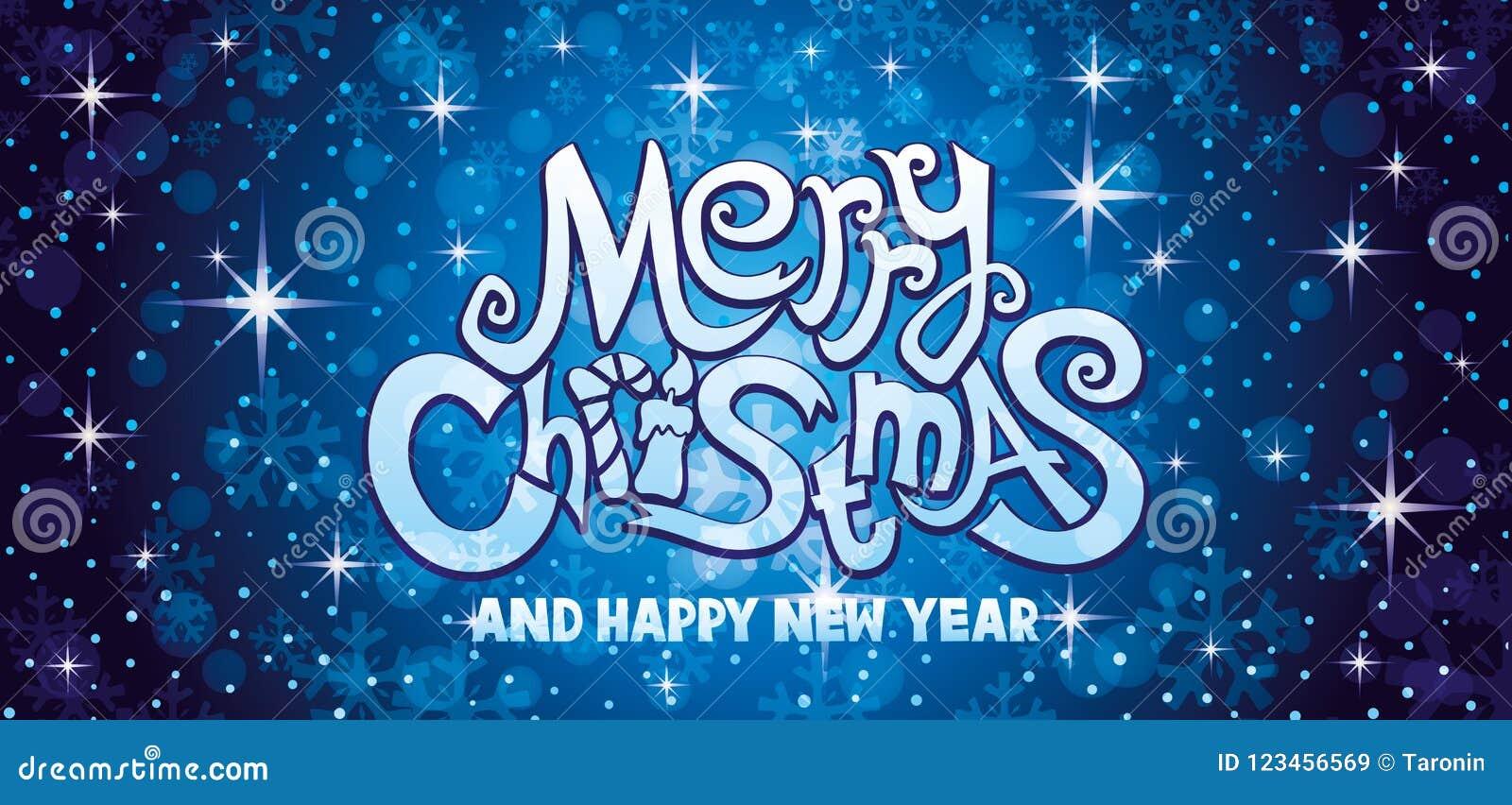 Μπλε ευχετήρια κάρτα Χαρούμενα Χριστούγεννας