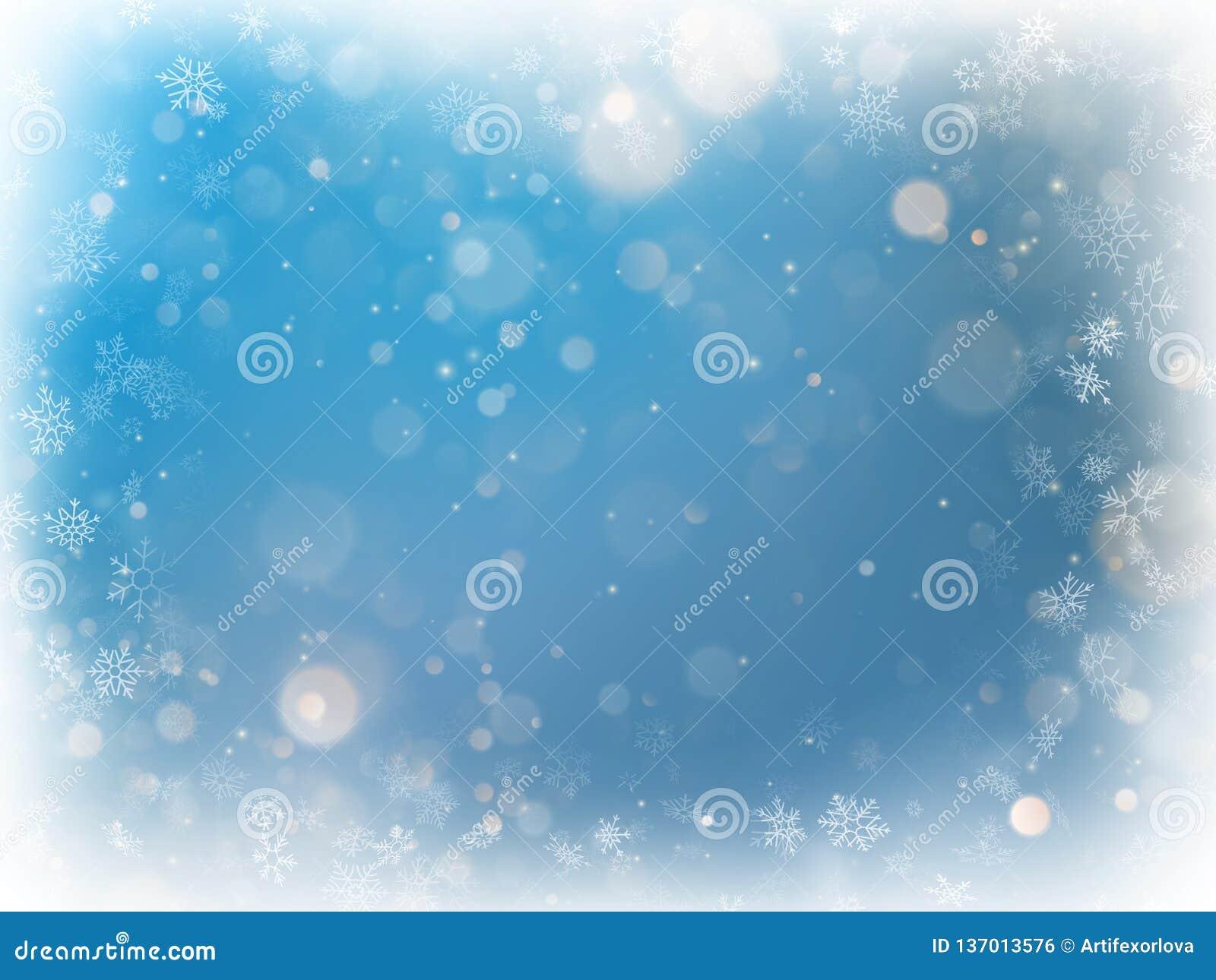Μπλε θολωμένο bokeh ελαφρύ υπόβαθρο Χριστουγέννων Οι διακοπές το σκηνικό πυράκτωσης με να αναβοσβήσουν τα αστέρια 10 eps