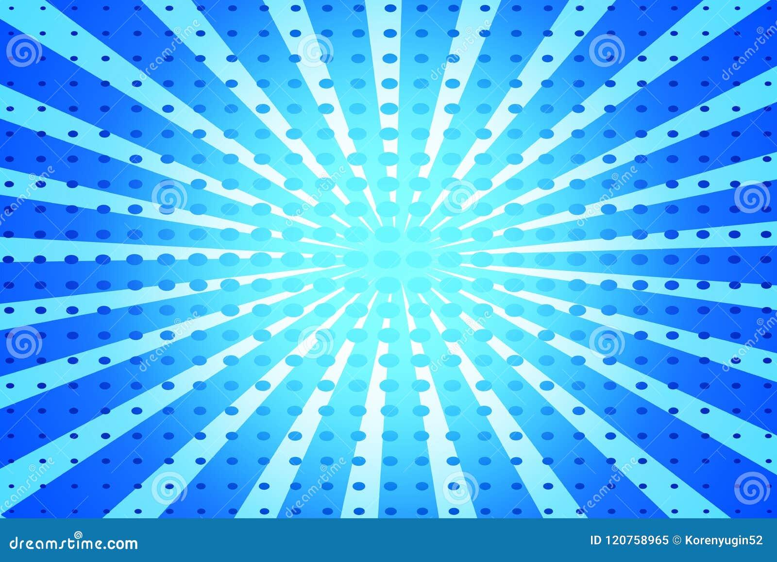 Μπλε λαϊκό αναδρομικό υπόβαθρο τέχνης με τις ακτίνες και τα σημεία κωμικές