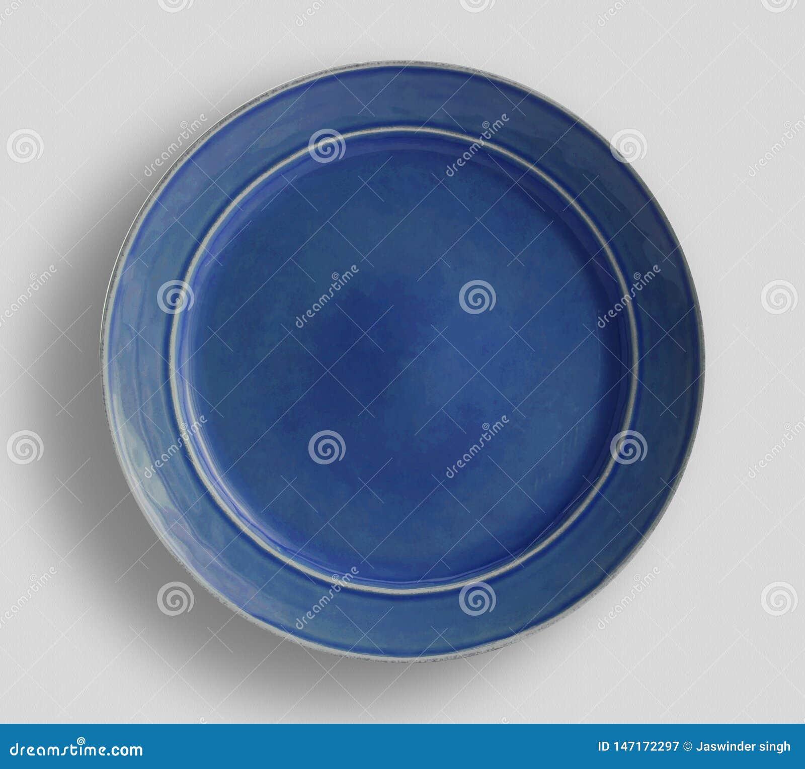 Μπλε ναυτικό πιάτο γευμάτων χρώματος - εικόνα, μπλε λαμπρό κουμπί, σχέδιο - Χρώμα VectorDecorative στο άσπρο υπόβαθρο, τοπ άποψη