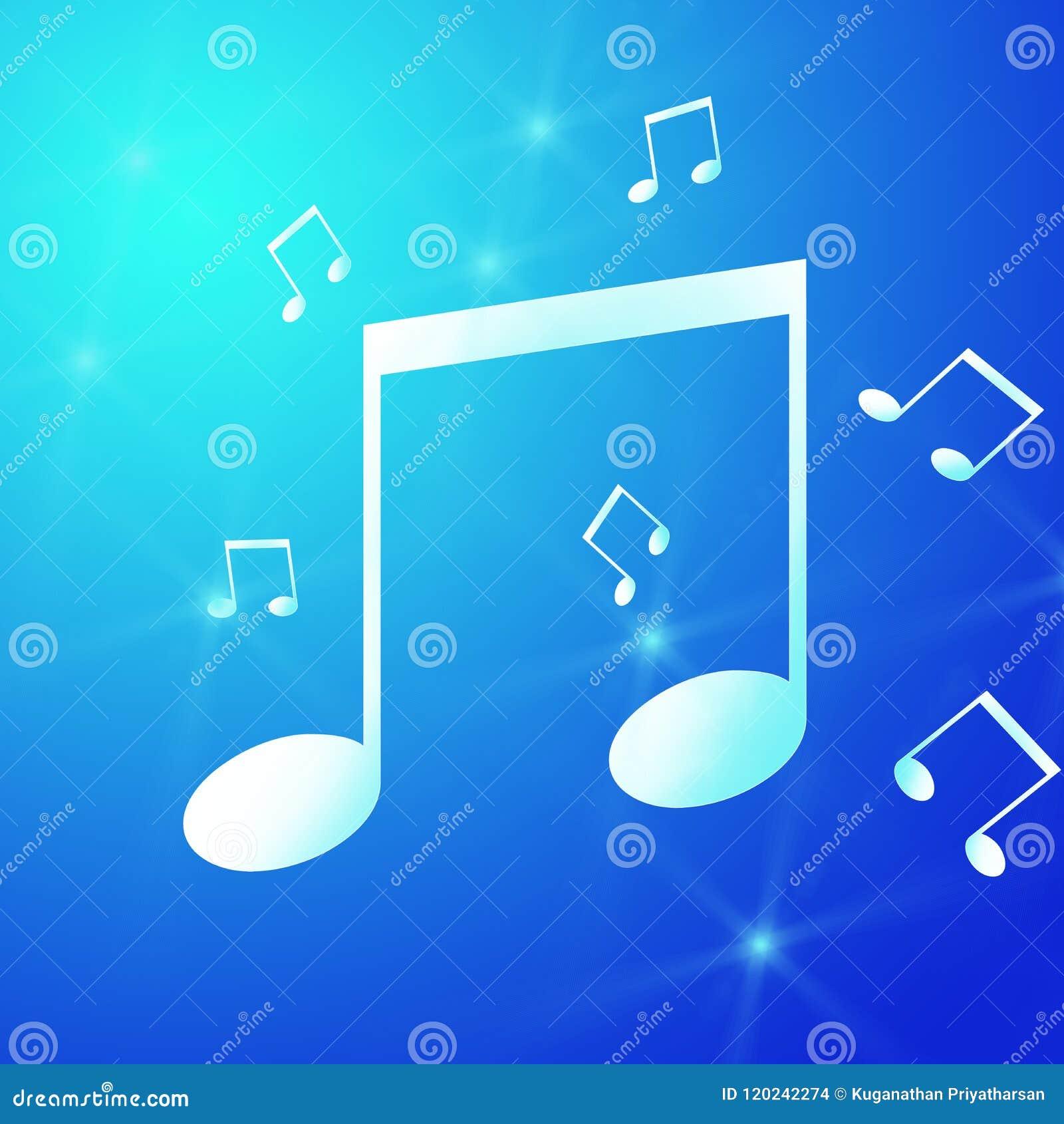 Μπλε νύχι του αντίχειρα με το σύμβολο μουσικής