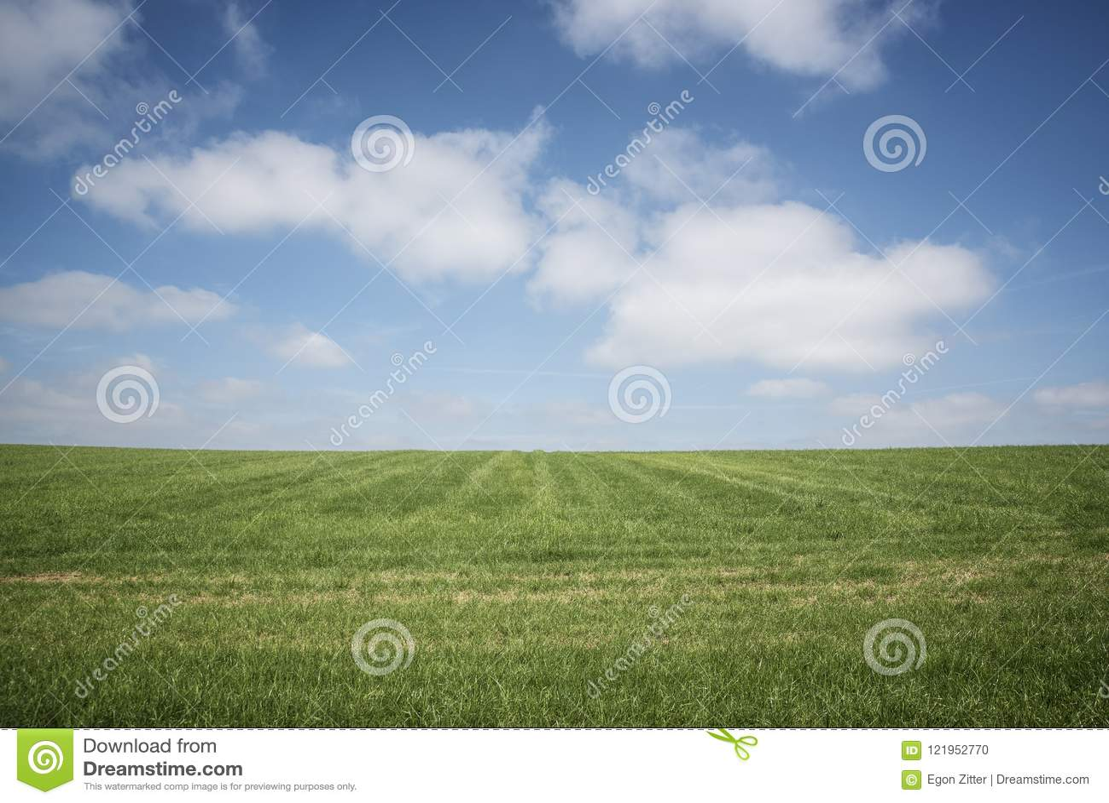Μπλε ουρανός, πράσινη χλόη, άσπρα σύννεφα
