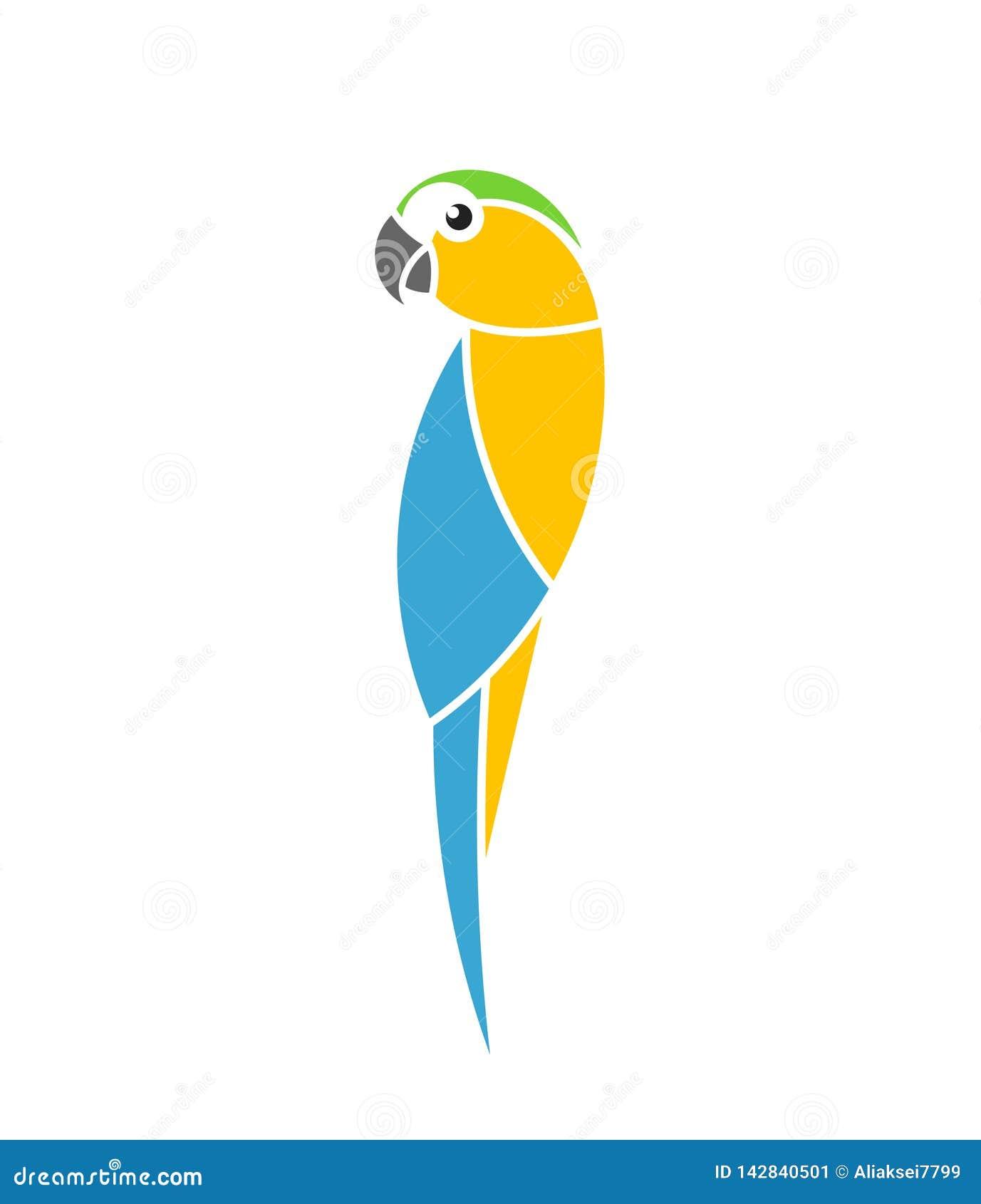 μπλε παπαγάλος macaw κίτρινο&sigm Τροπικό πουλί Απομονωμένος παπαγάλος στο άσπρο υπόβαθρο