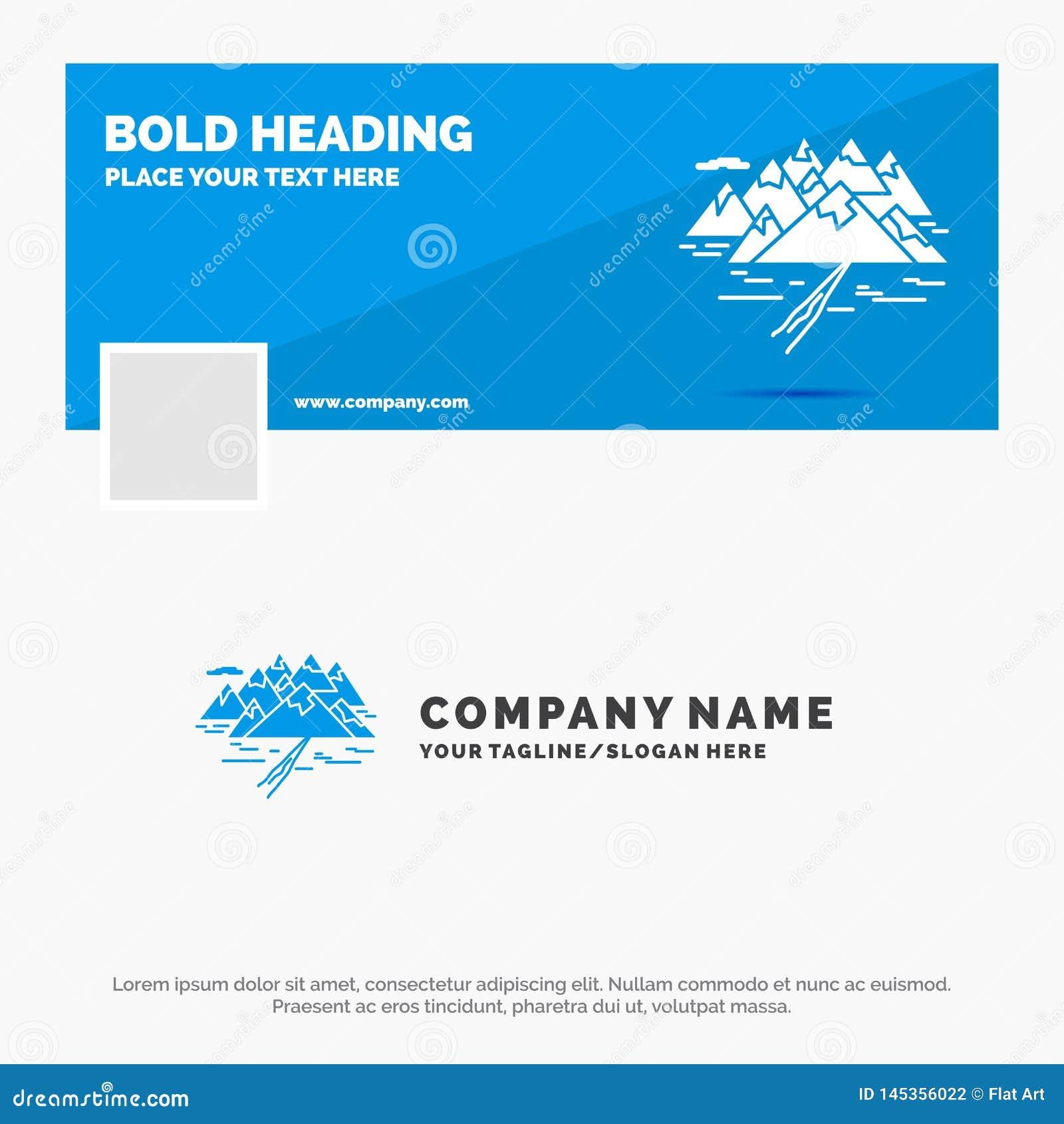 Μπλε πρότυπο επιχειρησιακών λογότυπων για το βουνό, λόφος, τοπίο, βράχοι, ρωγμή Σχέδιο εμβλημάτων υπόδειξης ως προς το χρόνο Face