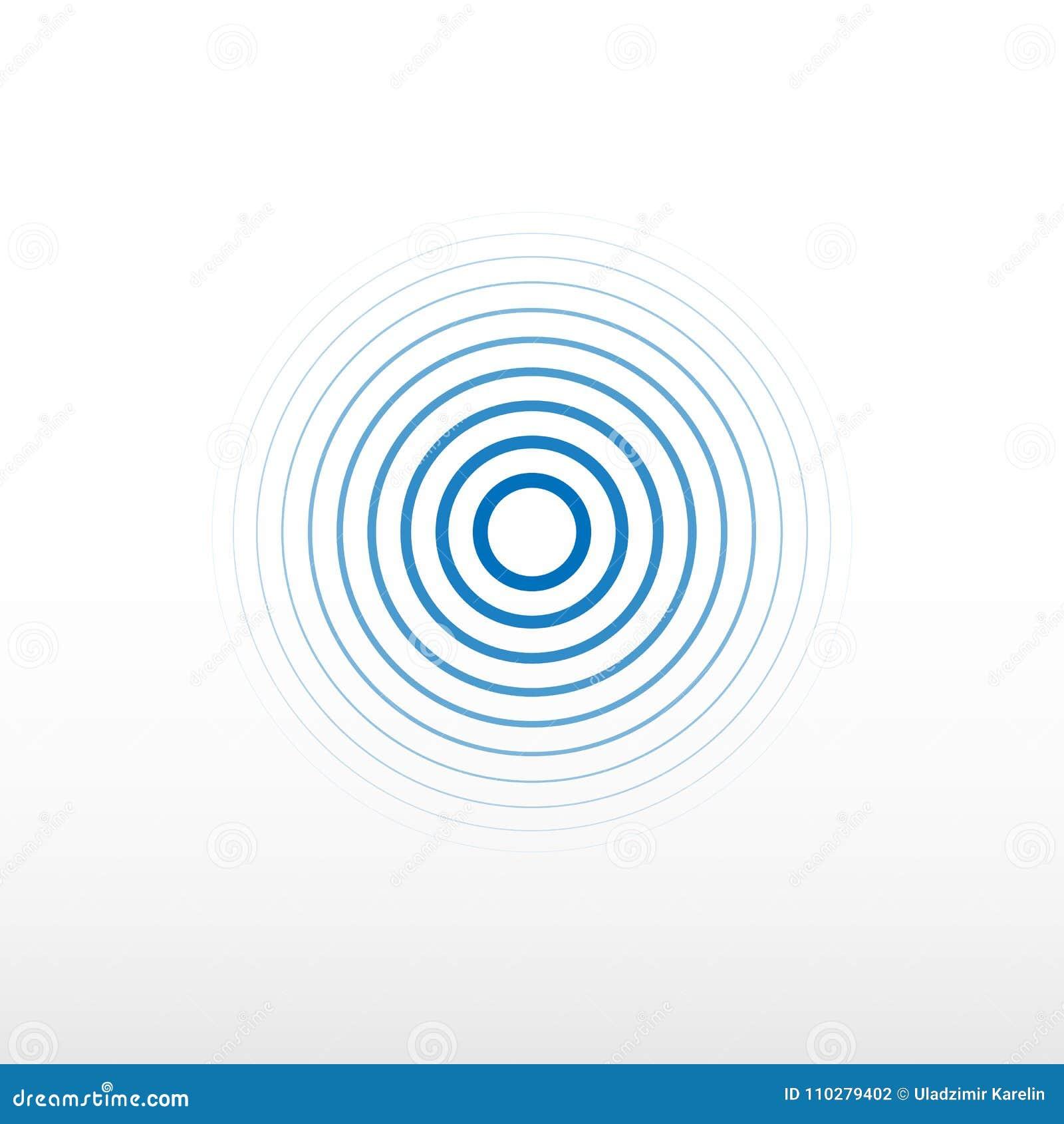 Μπλε σήμα ραδιοσταθμών Υπόβαθρο υγιών κυμάτων Διανυσματικό υπόβαθρο περιστροφής κύκλων