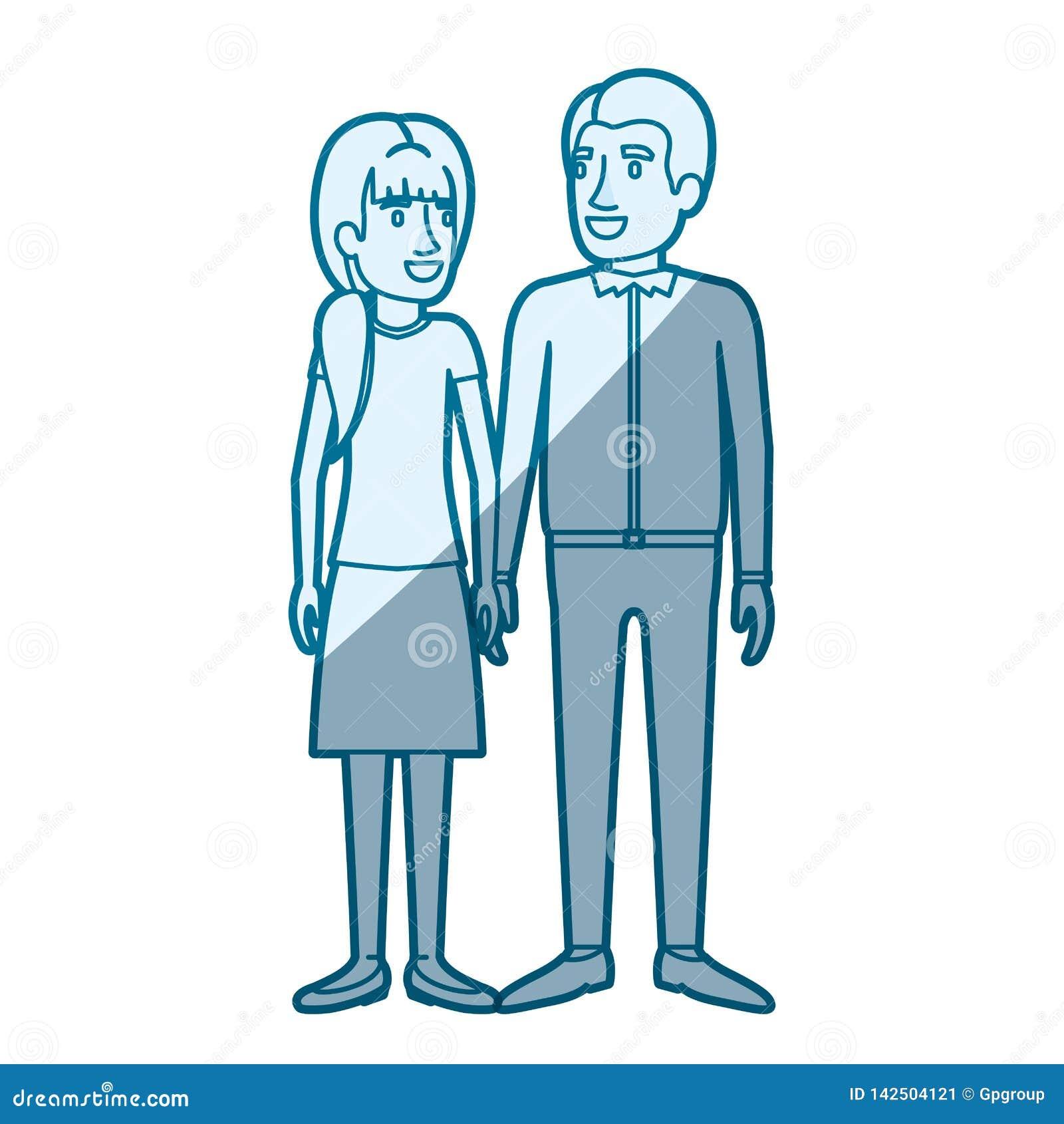 Μπλε σκίαση σκιαγραφιών χρώματος της στάσης ανδρών και γυναικών και αυτή με το ponytail και αυτός στα περιστασιακά ενδύματα και τ