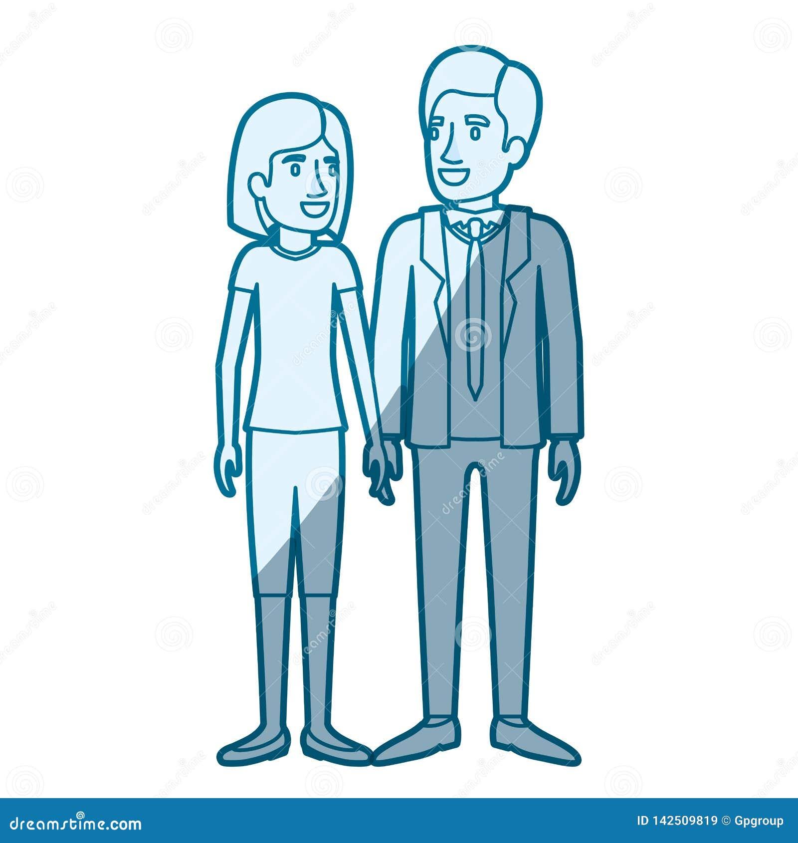 Μπλε σκίαση σκιαγραφιών χρώματος της στάσης ανδρών και γυναικών και αυτή με την κοντή τρίχα και αυτός στο επίσημο κοστούμι με το