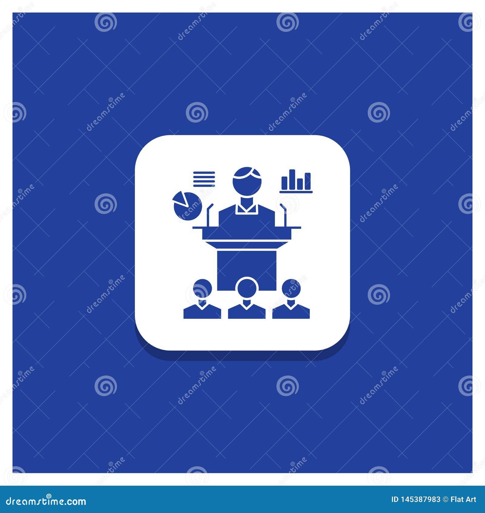 Μπλε στρογγυλό κουμπί για την επιχείρηση, διάσκεψη, σύμβαση, παρουσίαση, εικονίδιο Glyph σεμιναρίου
