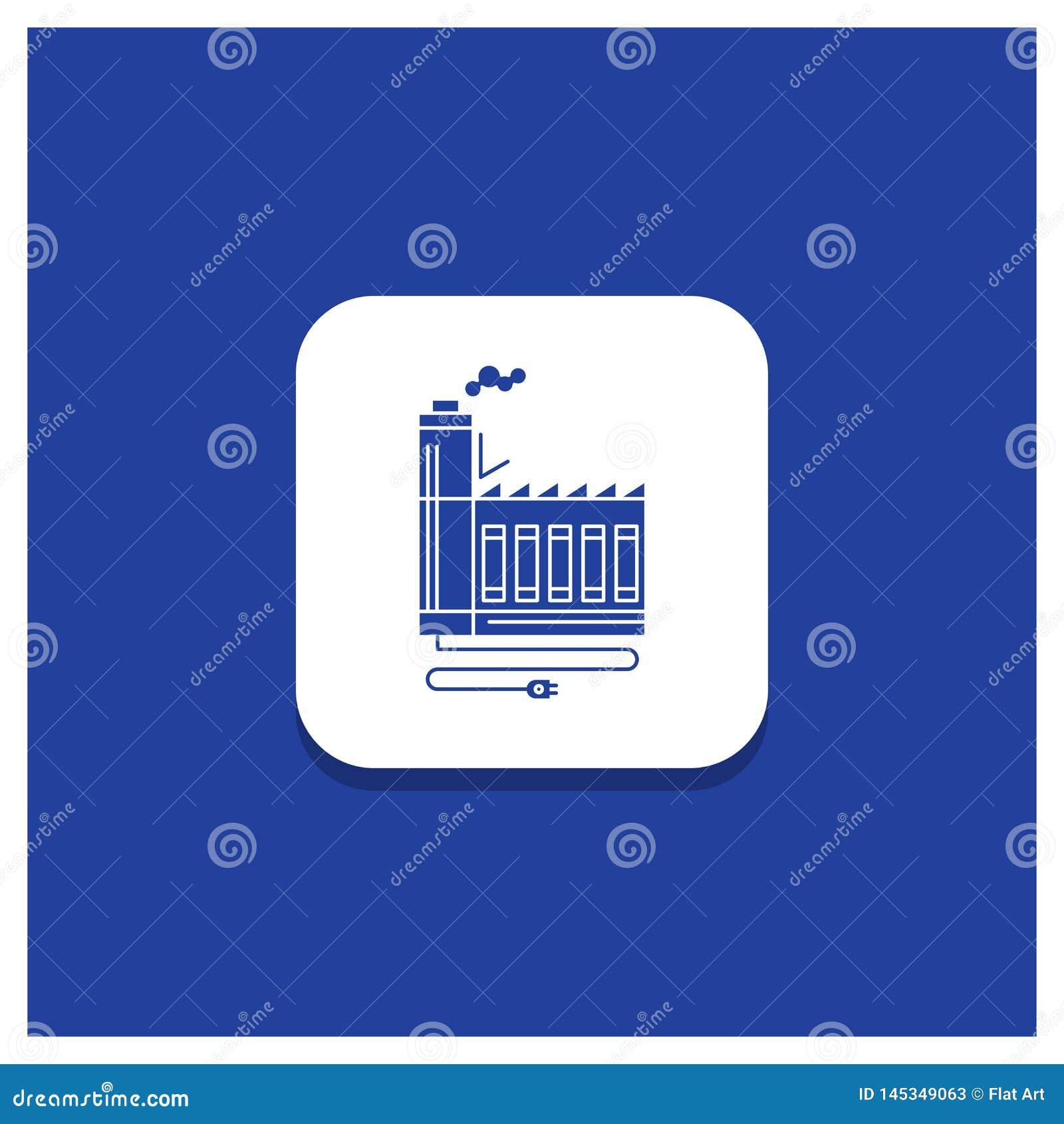 Μπλε στρογγυλό κουμπί για την κατανάλωση, πόρος, ενέργεια, εργοστάσιο, εικονίδιο κατασκευής Glyph