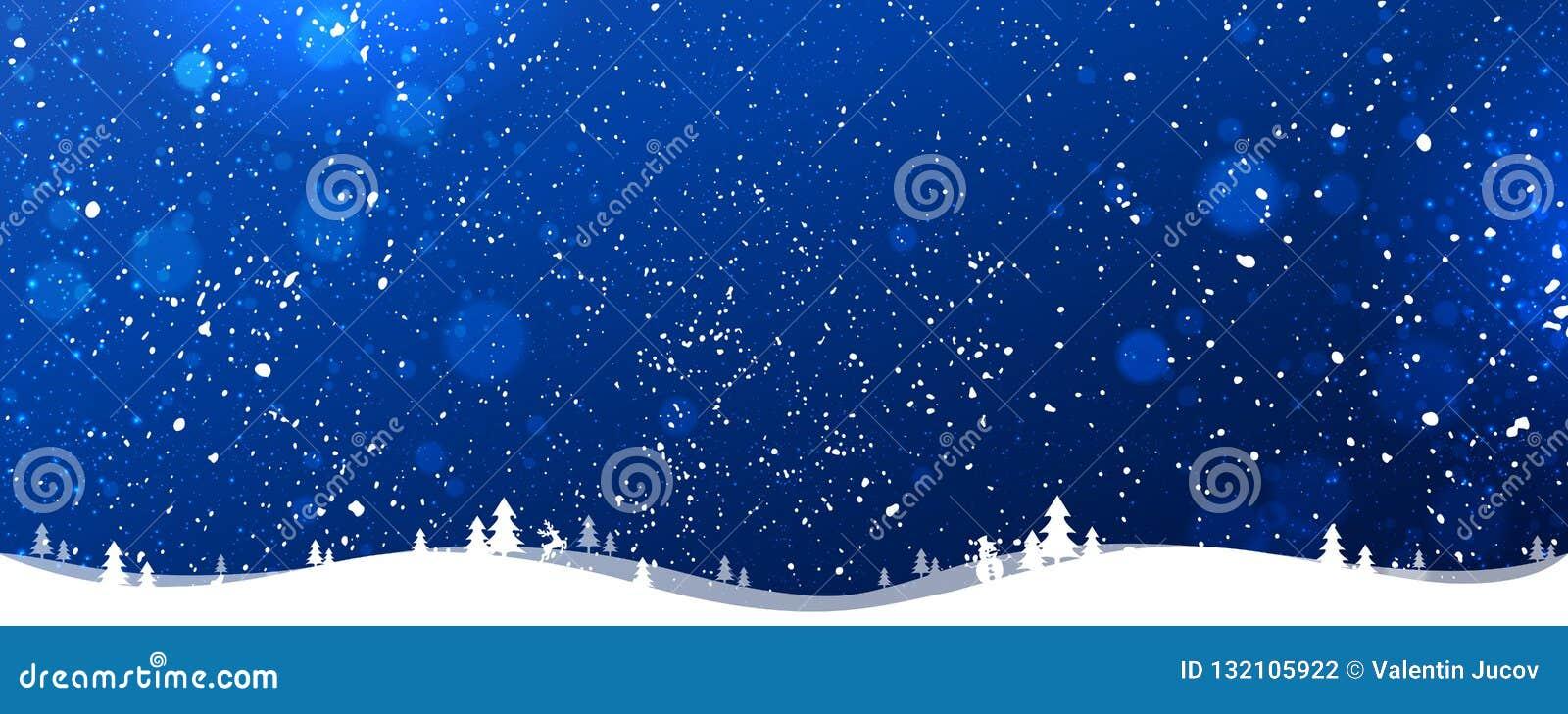 Μπλε υπόβαθρο χειμερινών Χριστουγέννων με snowflakes, φως, αστέρια νέο έτος Χριστουγέννων κα&rh