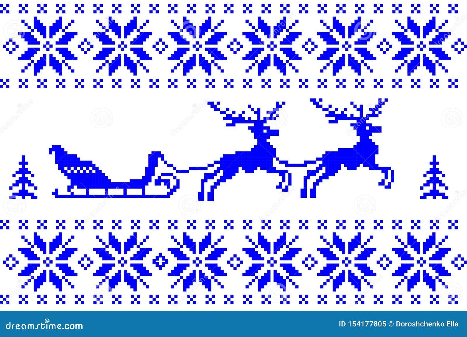 Μπλε υπόβαθρο χειμερινών Χριστουγέννων στο νορβηγικό ύφος Εορταστική νέα απεικόνιση χαιρετισμού έτους