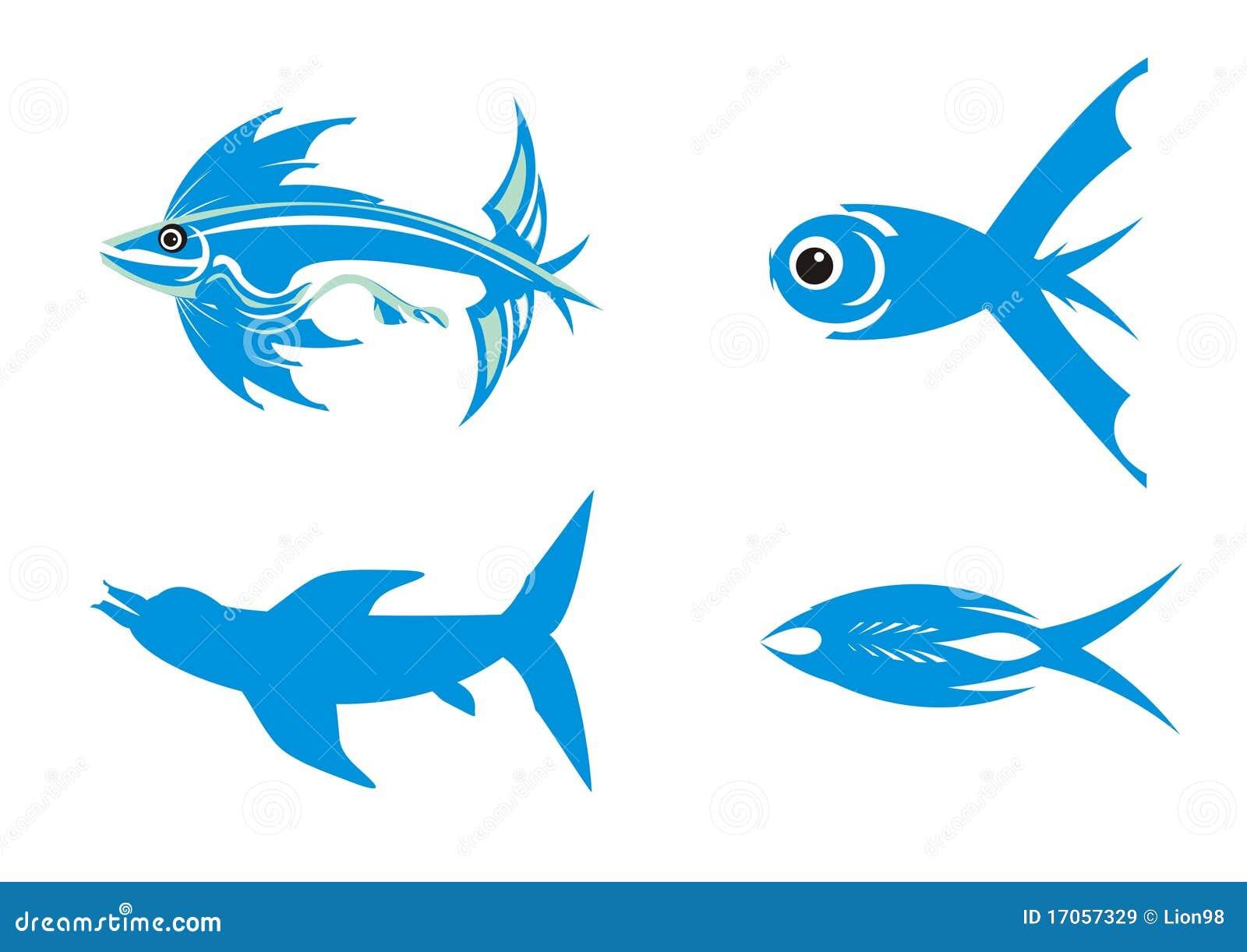 μπλε ψάρια τέσσερα σύμβολ&a
