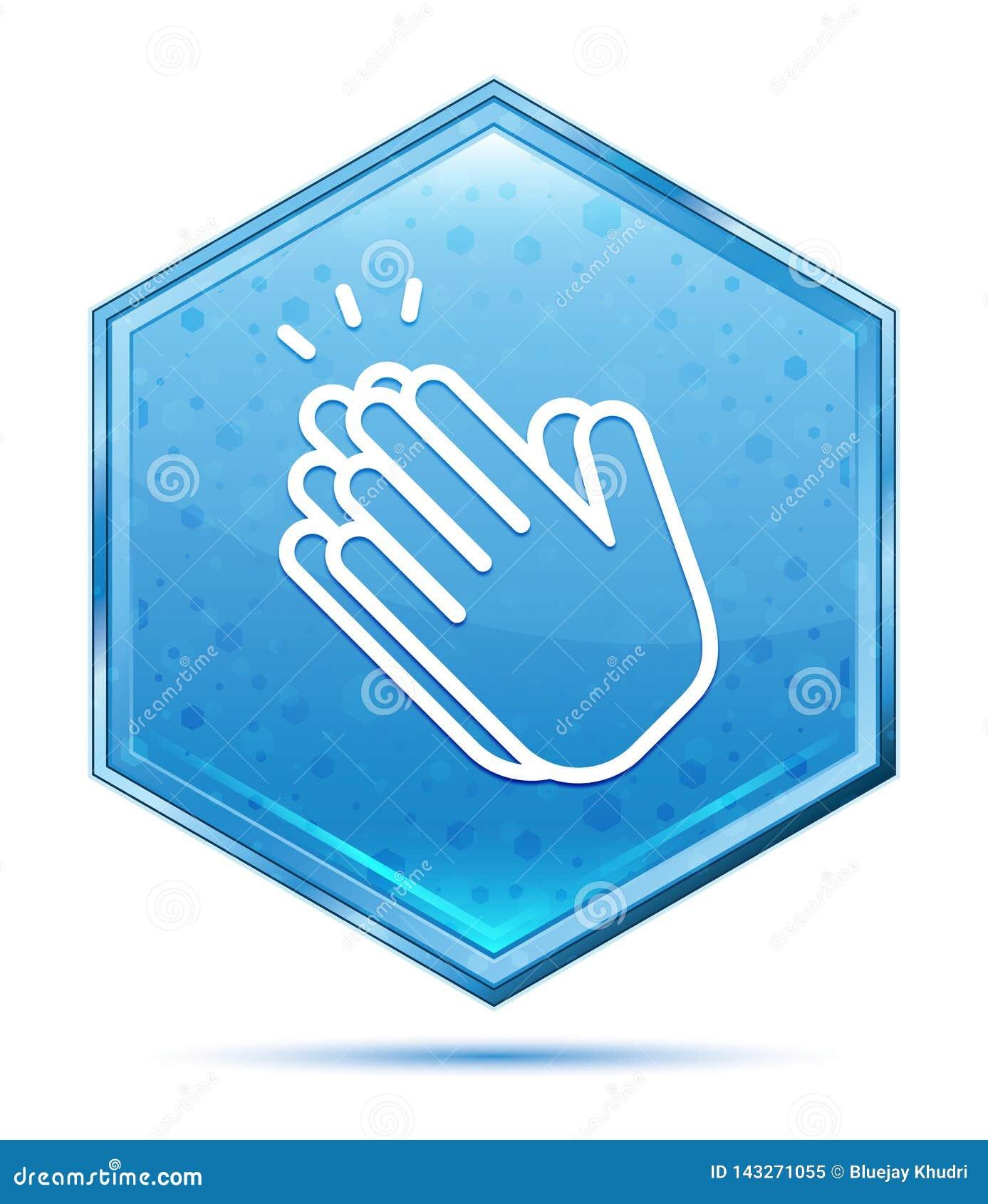 Μπλε hexagon κουμπί κρυστάλλου εικονιδίων χειροκροτήματος χεριών