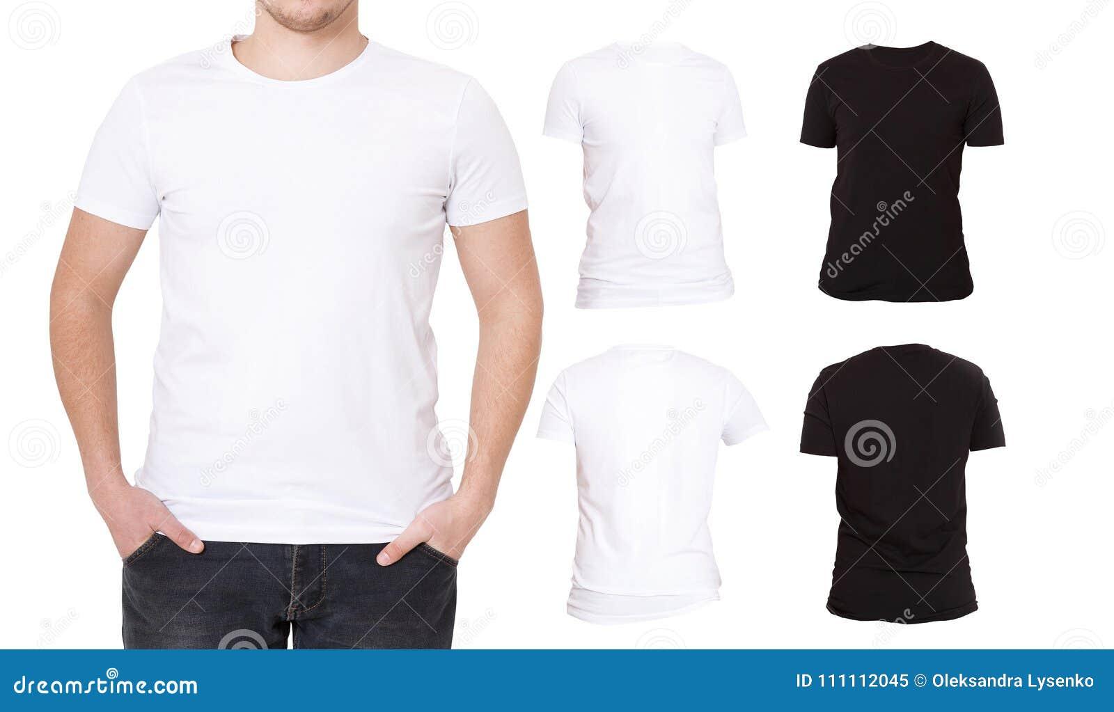 Μπλούζες κολάζ Ο Μαύρος, λευκός Μπροστινό και πίσω πουκάμισο άποψης Πρότυπο Μακρο σύνολο μπλουζών που απομονώνεται Κενή διαφήμιση
