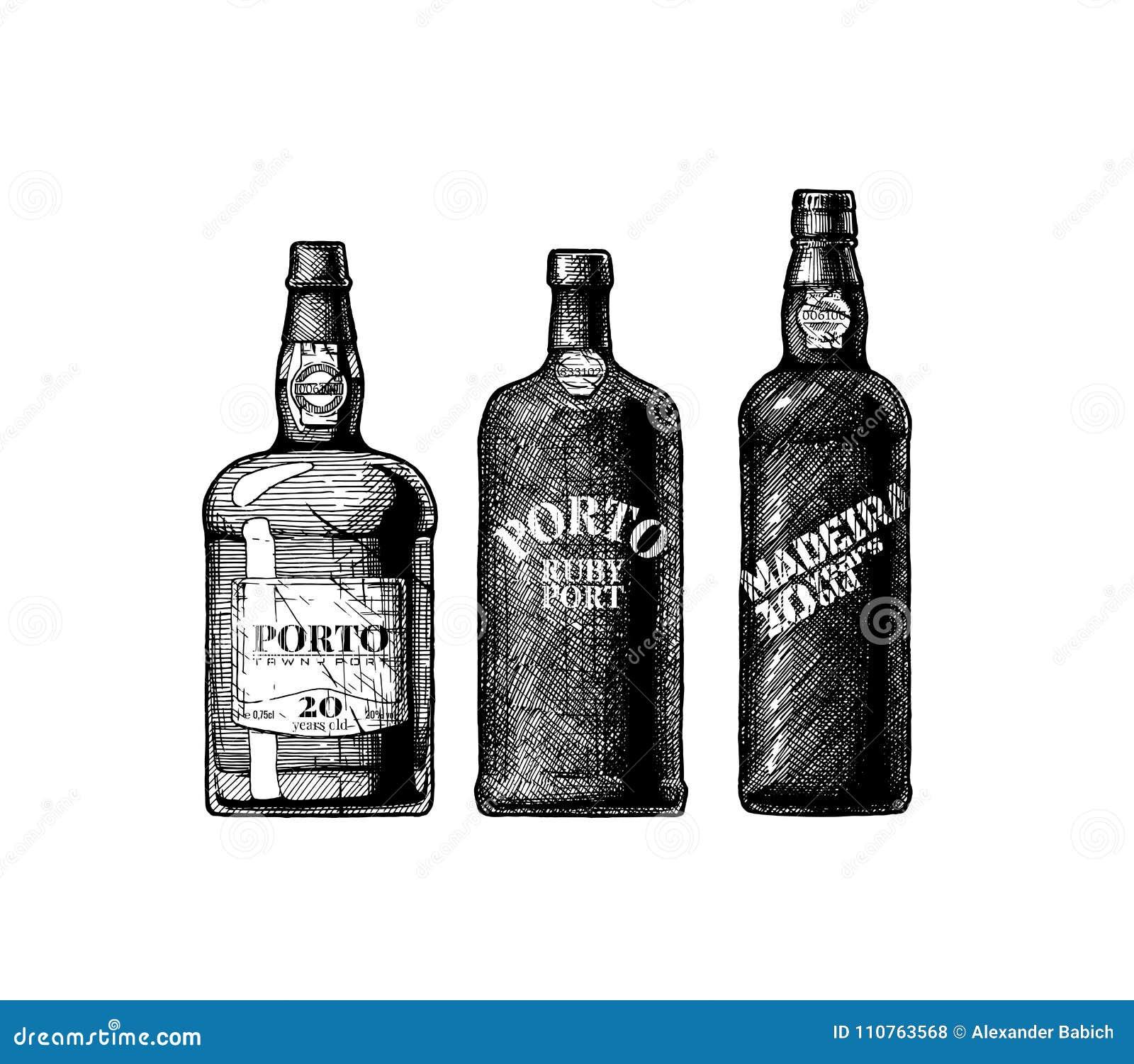 Μπουκάλια κρασιού λιμένων και της Μαδέρας