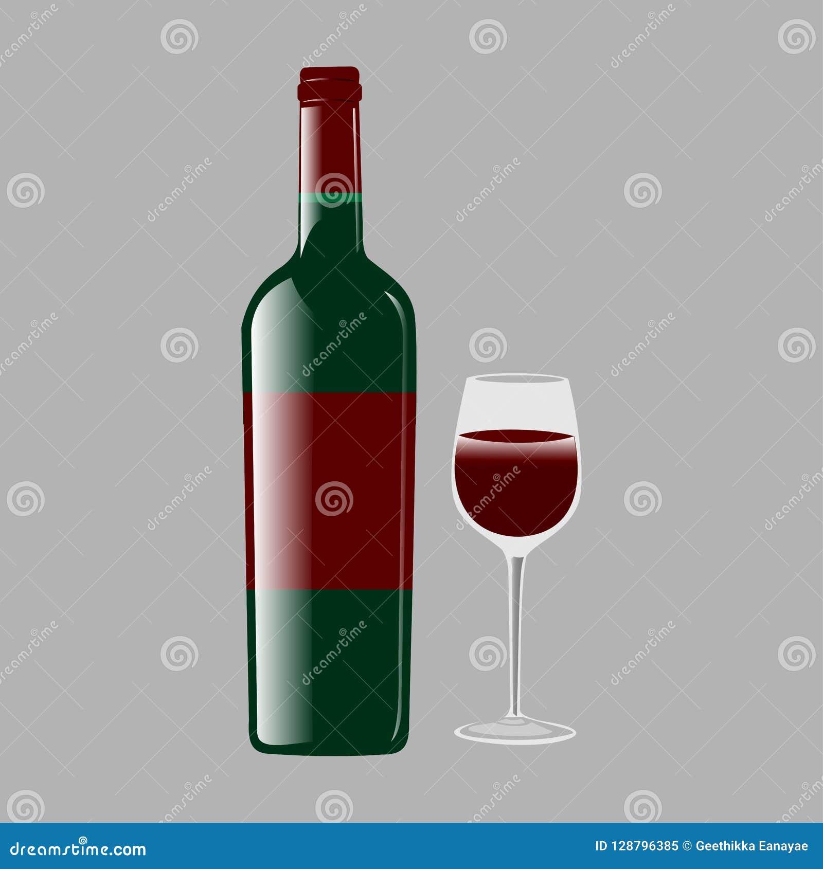 Μπουκάλι και γυαλί με το διανυσματικό σχέδιο κόκκινου κρασιού
