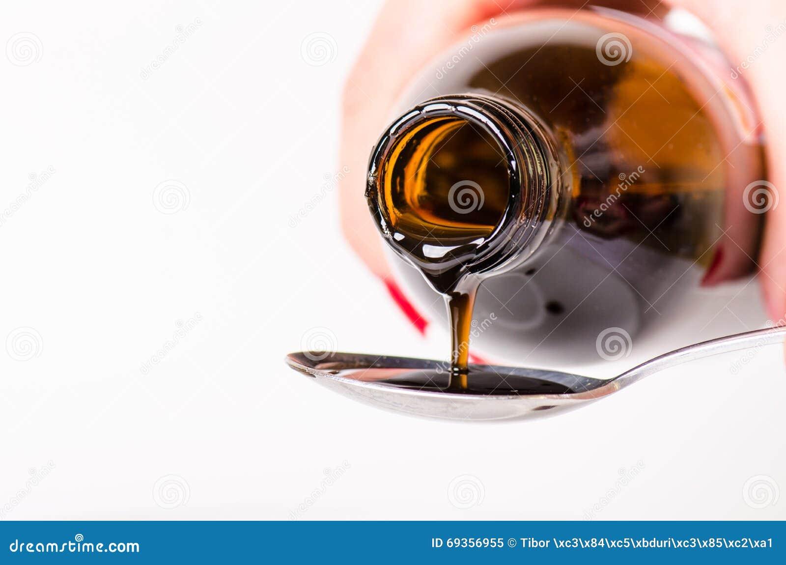 Μπουκάλι που χύνει ένα υγρό σε ένα κουτάλι η ανασκόπηση απομόνωσε το λευκό Φαρμακείο και υγιές υπόβαθρο Ιατρική Βήχας και κρύο φά