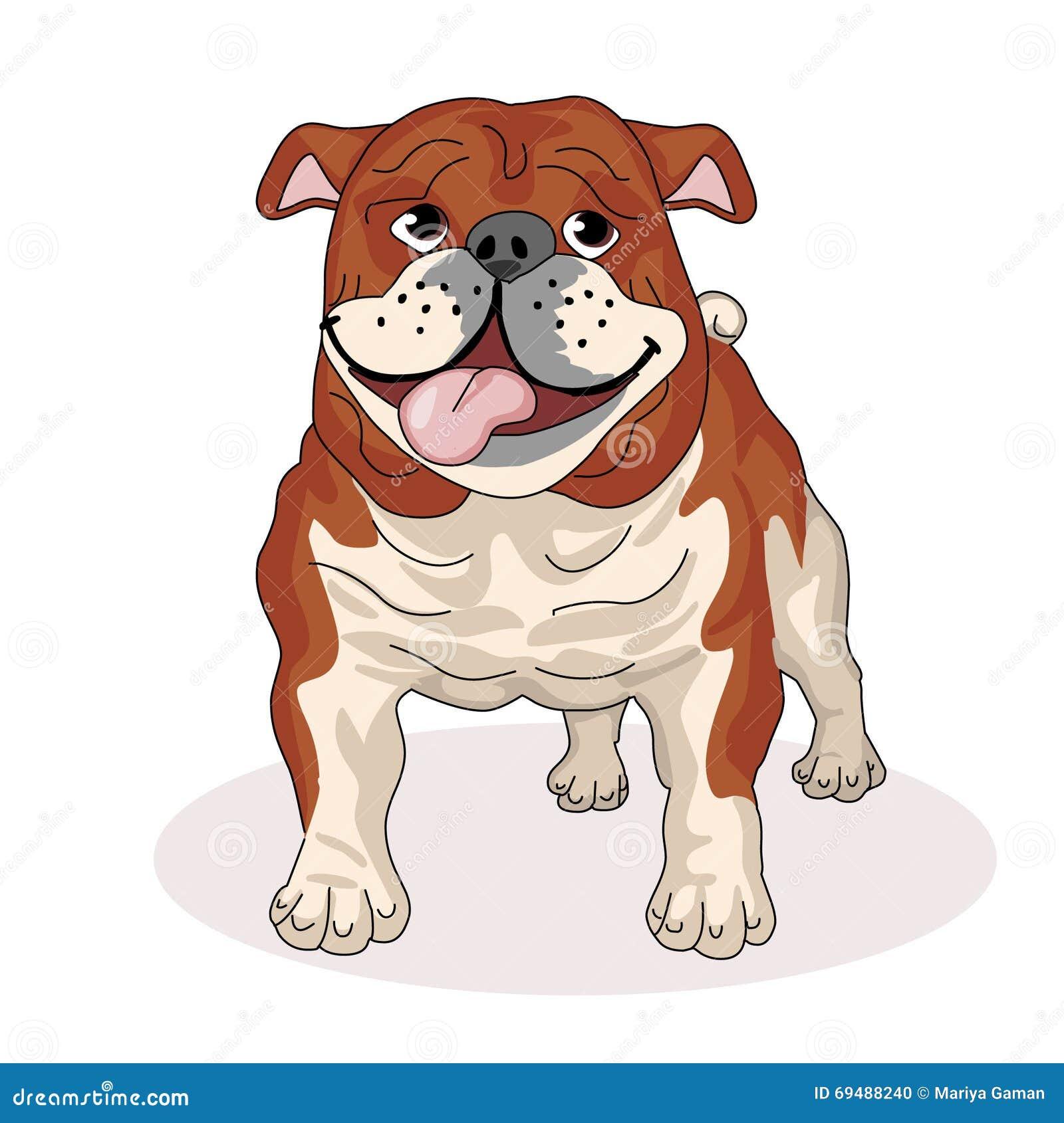 Μπουλντόγκ με τη γλώσσα του που κρεμά έξω Σκυλιά φυλής Φίλος του ανθρώπου pets επίσης corel σύρετε το διάνυσμα απεικόνισης