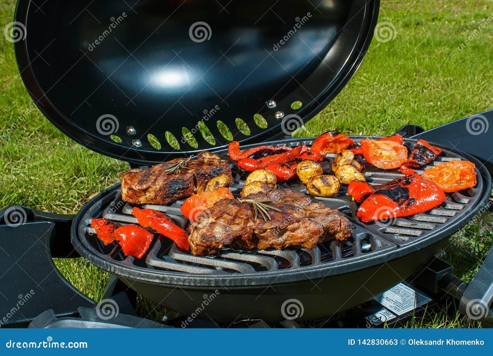 Μπριζόλα βόειου κρέατος και ψημένα στη σχάρα λαχανικά στη φύση
