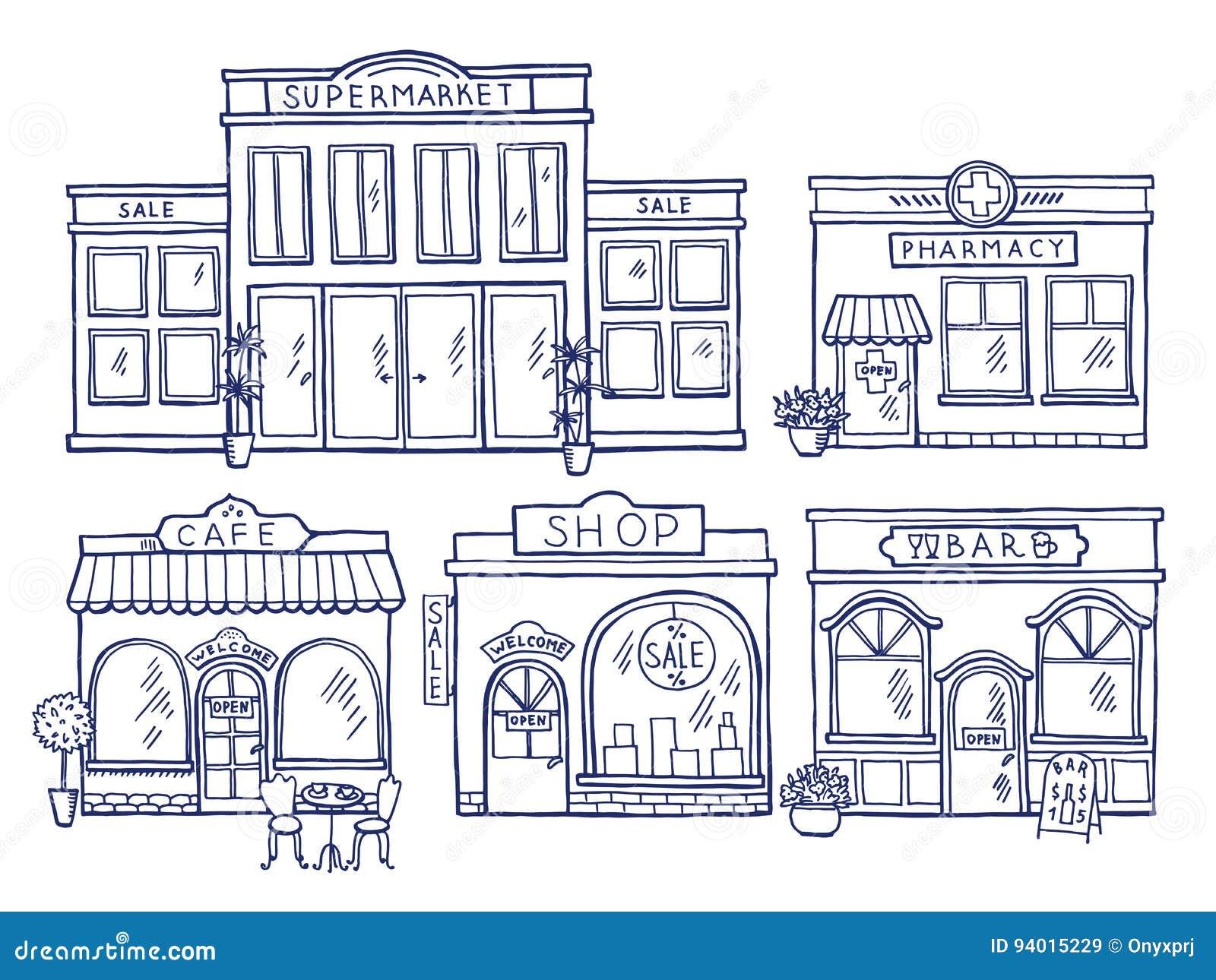 Μπροστινή άποψη προσόψεων κτηρίων Κατάστημα, καφές, λεωφόρος και φαρμακείο Απεικονίσεις Doodle καθορισμένες