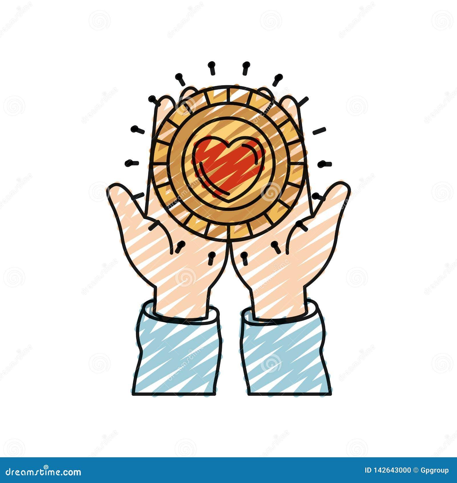Μπροστινή άποψη σκιαγραφιών κραγιονιών χρώματος των χεριών που κρατά στις παλάμες ένα νόμισμα με τη μορφή καρδιών μέσα στο σύμβολ