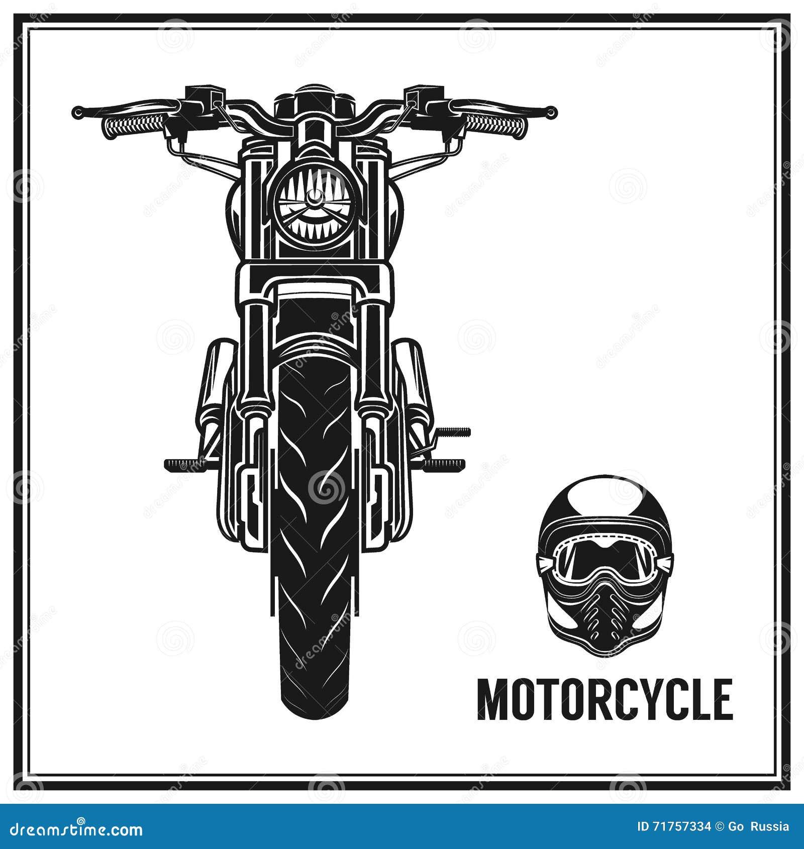 Μπροστινή άποψη Motorcyle και σύνολο κρανών