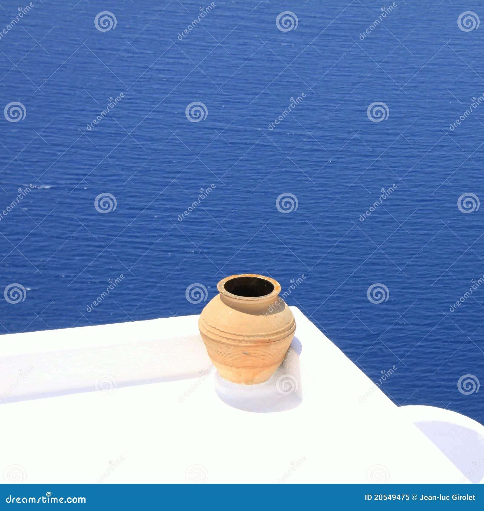 μπροστινή θάλασσα santorin μπαλκ