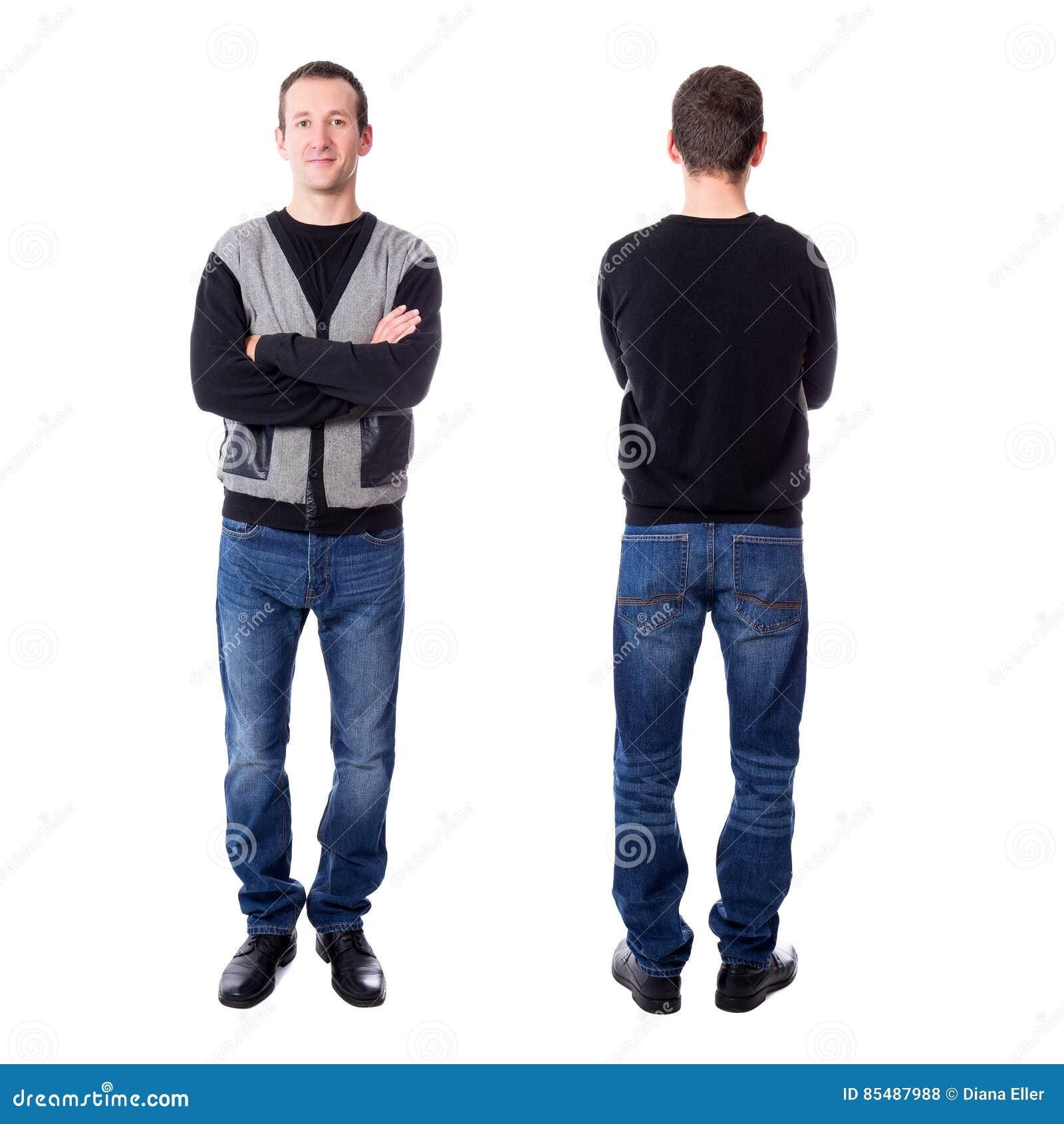 Μπροστινή και πίσω άποψη του όμορφου μέσου ηλικίας ατόμου που απομονώνεται στο μόριο