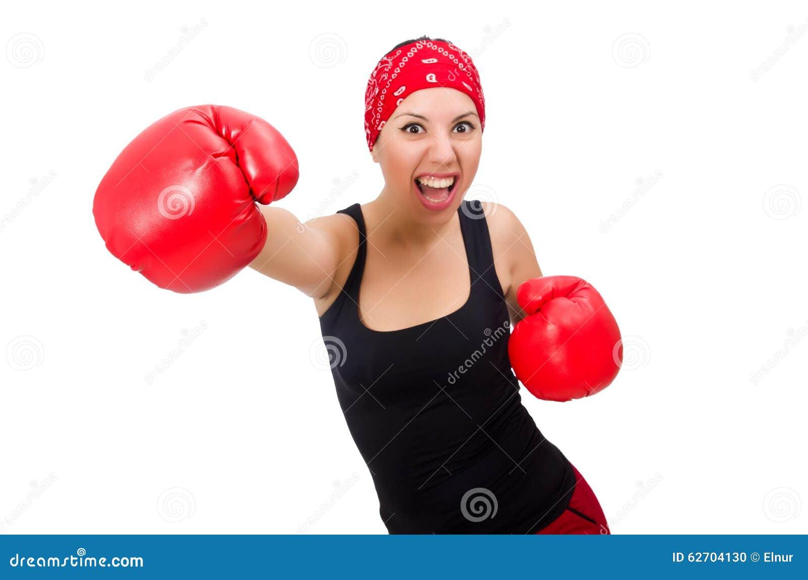 Download Μπόξερ γυναικών που απομονώνεται στο λευκό Στοκ Εικόνες - εικόνα από ηθοποιών, αθλητών: 62704130