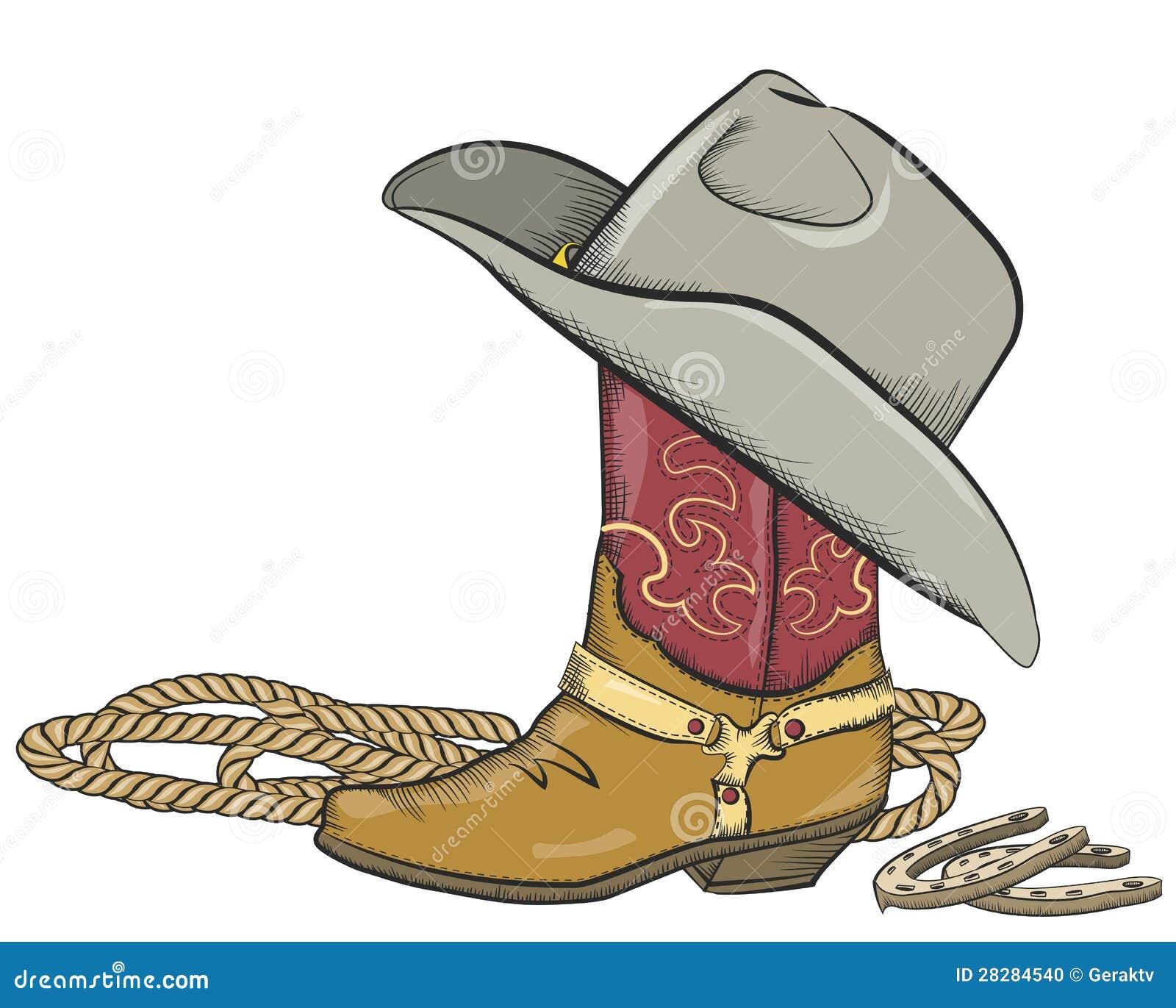 Μπότα κάουμποϋ το δυτικό καπέλο που απομονώνεται με στο λευκό