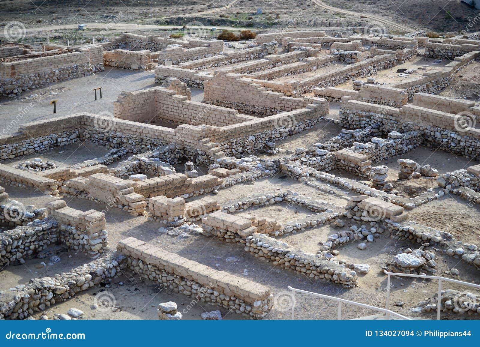 Μπύρα Sheba, μπύρα Sheva, αρχαιολογική περιοχή Beersheva, καταστροφές τηλ. της αρχαίας πόλης, Ισραήλ, έρημος Negev