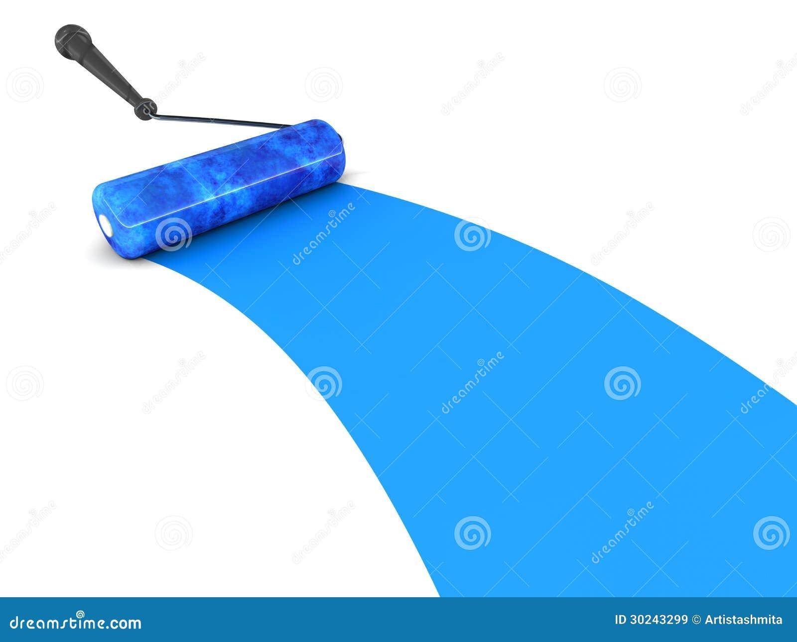 Μπλε βούρτσα κυλίνδρων χρωμάτων