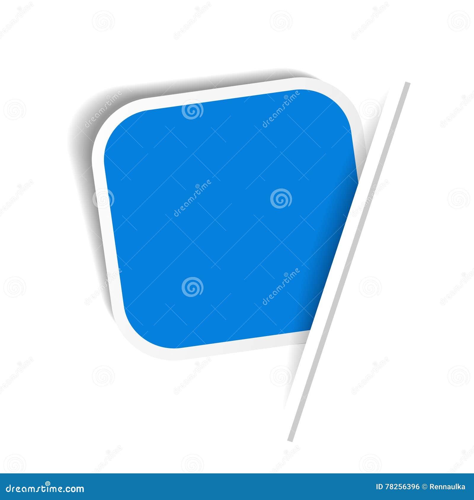 Μπλε ετικέτα διαφήμισης Τακτοποιημένη αυτοκόλλητη ετικέττα που παρεμβάλλεται στο πλαίσιο της σελίδας της Λευκής Βίβλου