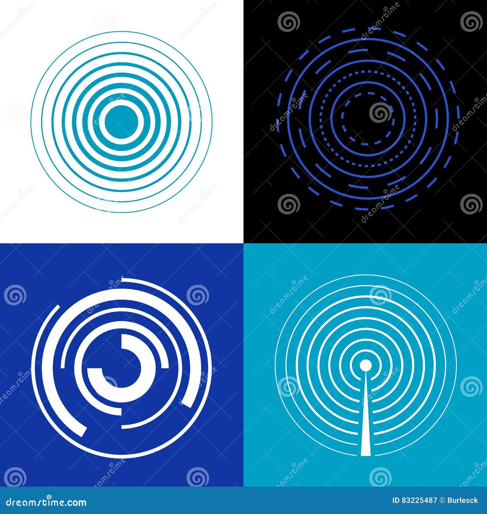 Μπλε κύματα σημάτων κύκλων Παράγετε τα διανυσματικά ραδιο σήματα ήχου ή ραντάρ