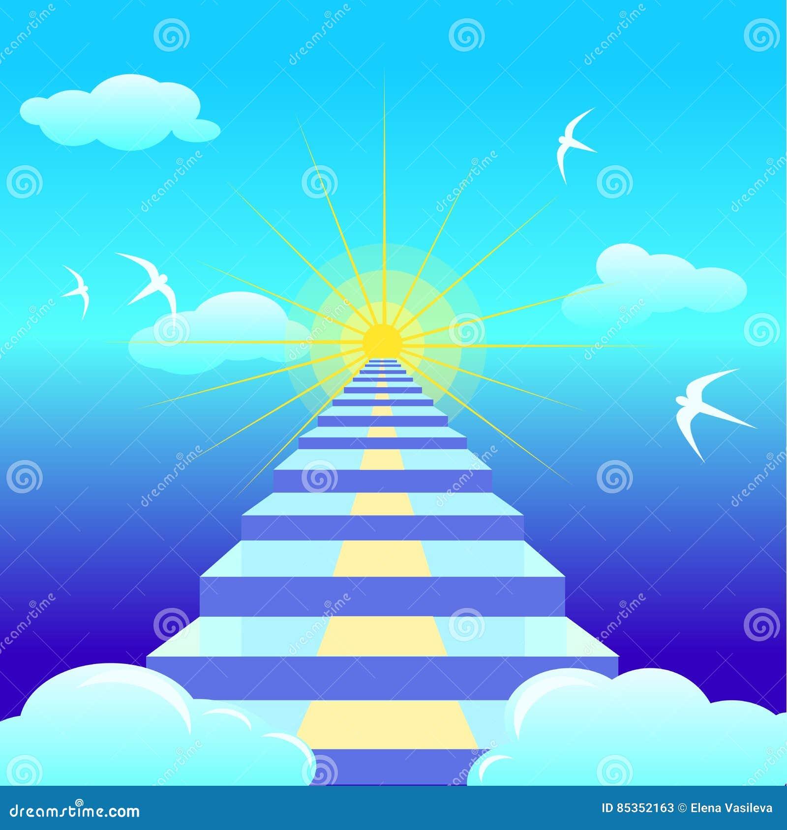 Μπλε σκάλα που οδηγεί στον ήλιο αύξησης διανυσματικό illustation