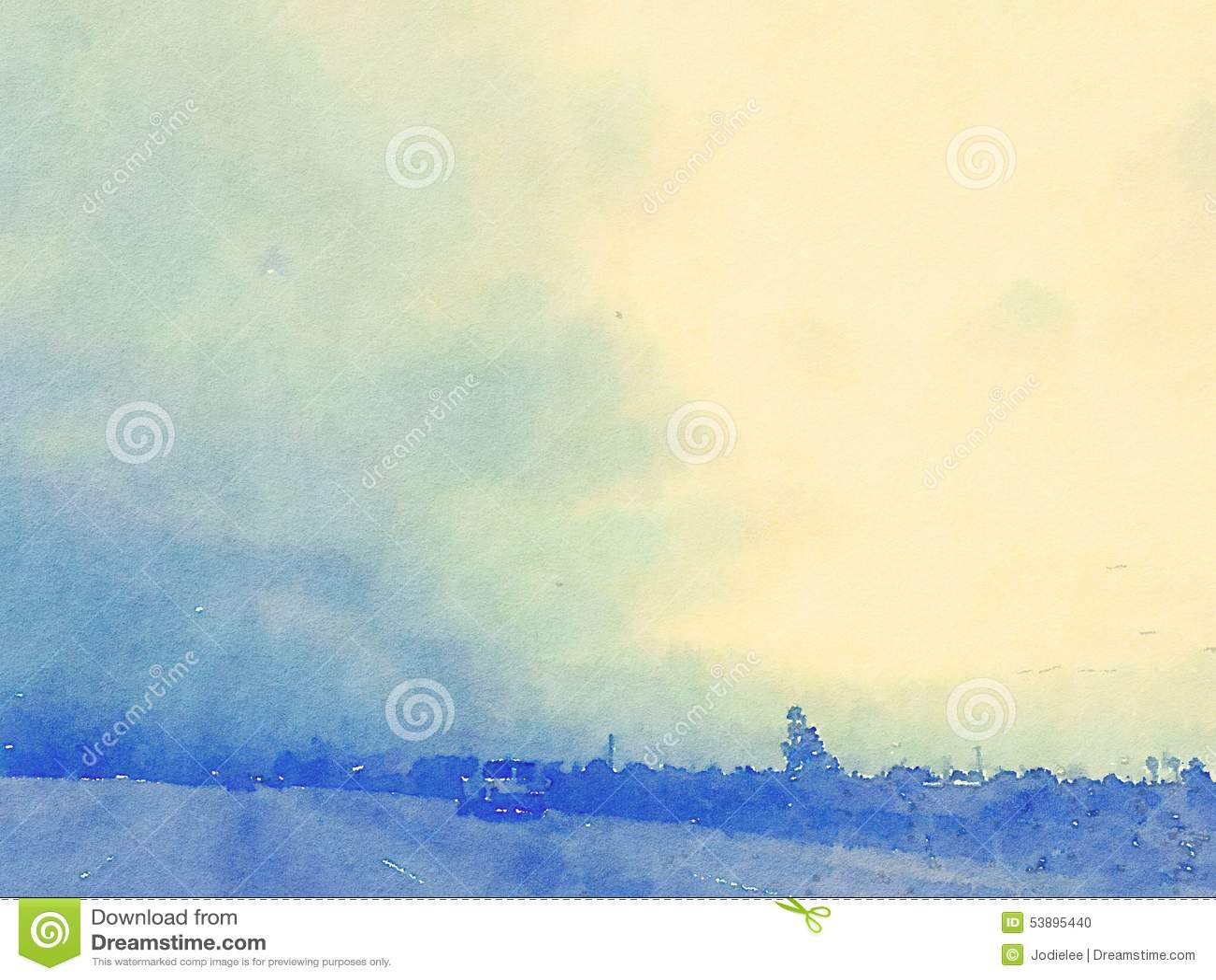 Μπλε τοπίων και ουρανού Watercolor με το ηλιοβασίλεμα