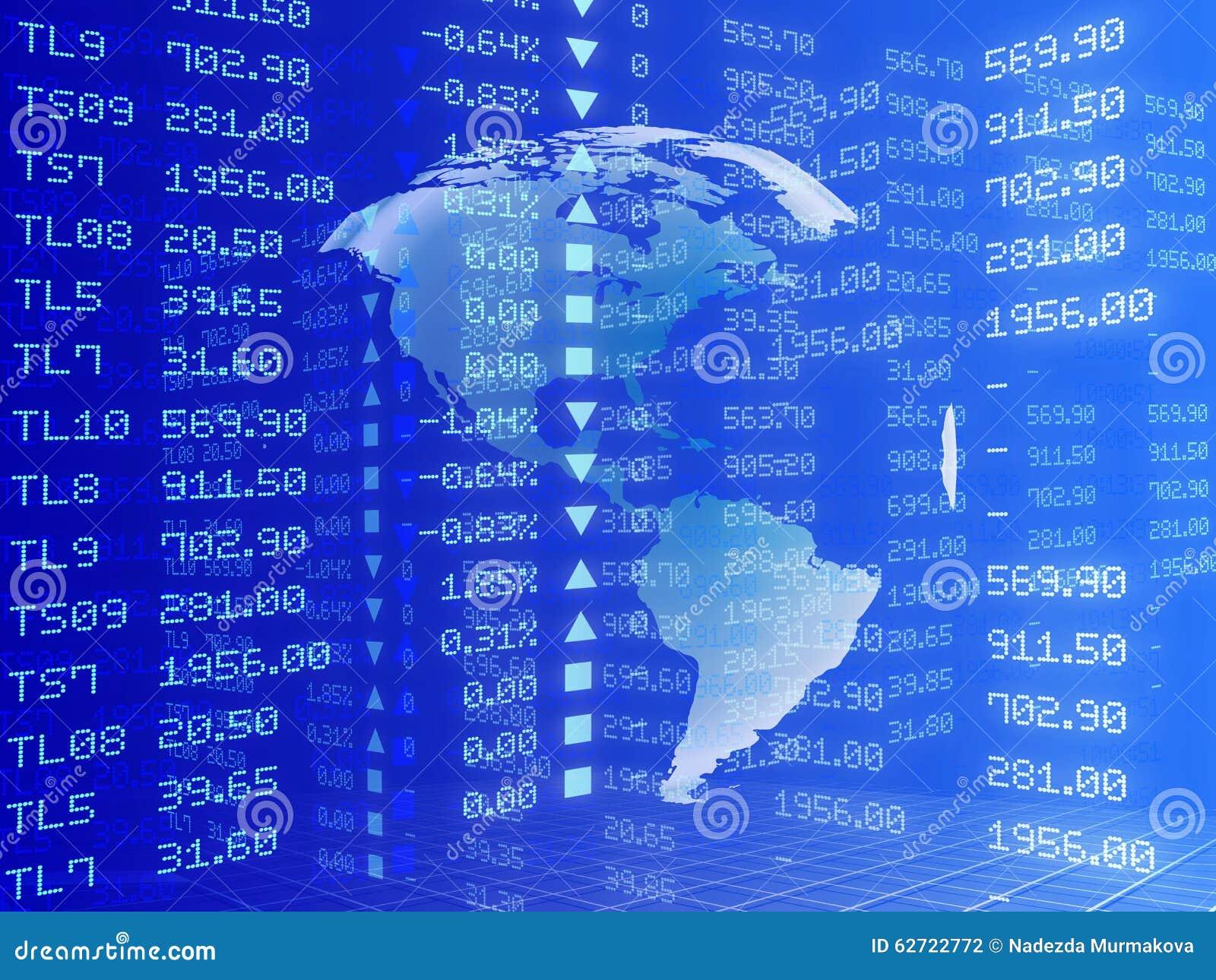 Μπλε υπόβαθρο με τα αφηρημένα διαγράμματα αποθεμάτων
