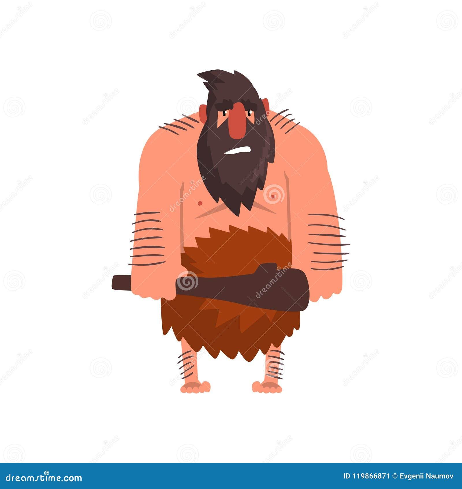 Μυϊκός πρωτόγονος caveman με τη λέσχη, διανυσματική απεικόνιση κινούμενων σχεδίων χαρακτήρα ατόμων εποχής του λίθου προϊστορική σ