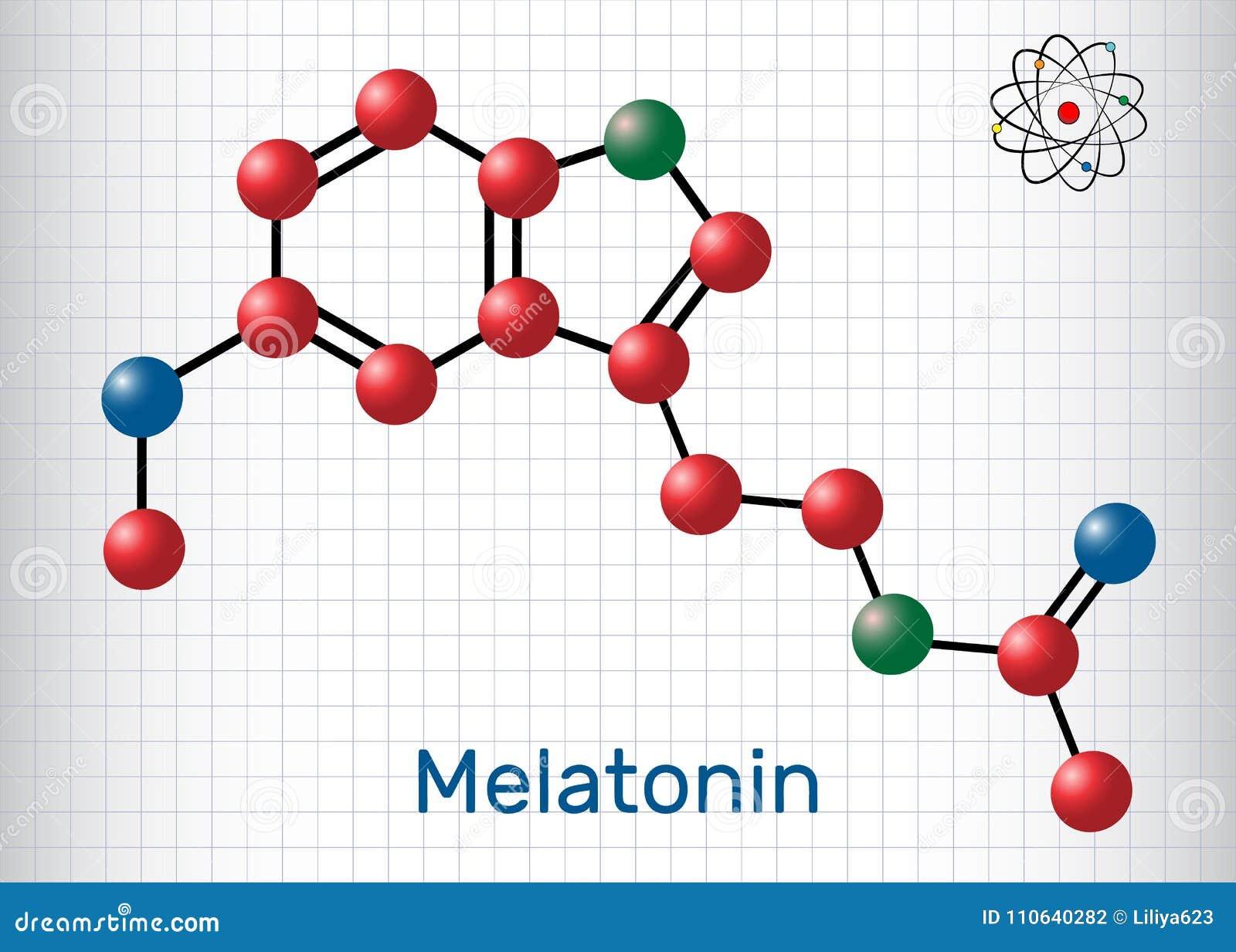 Μόριο Melatonin, ορμόνη ύπνου Τα άτομα αντιπροσωπεύονται ως sphe